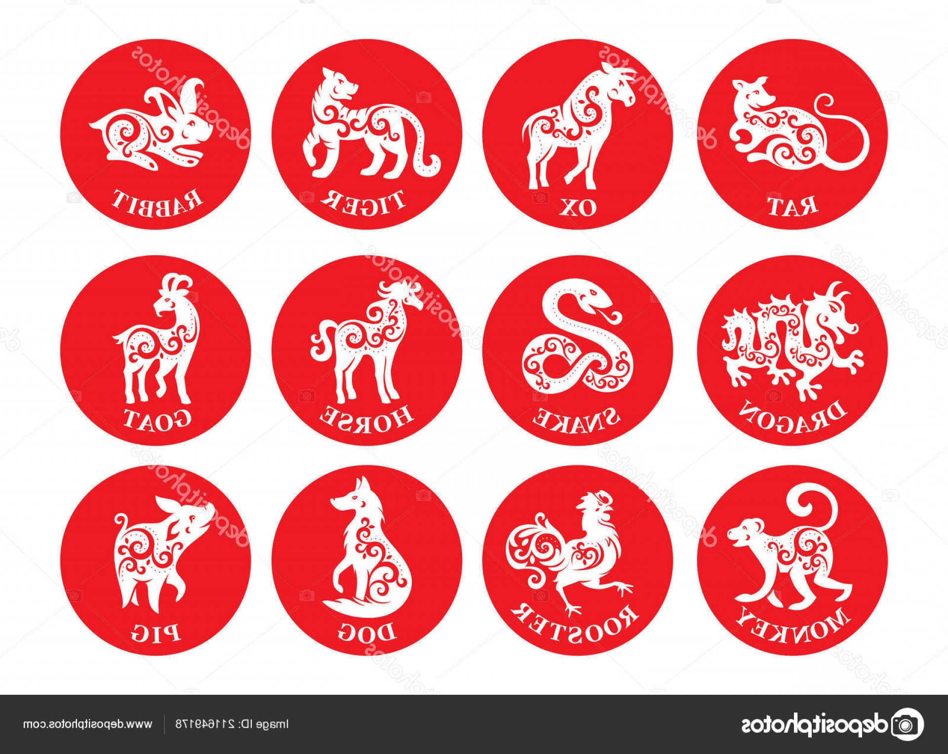 Vector Chinese Horoscope: Stock Illustration Set Chinese Zodiac Signs Vector