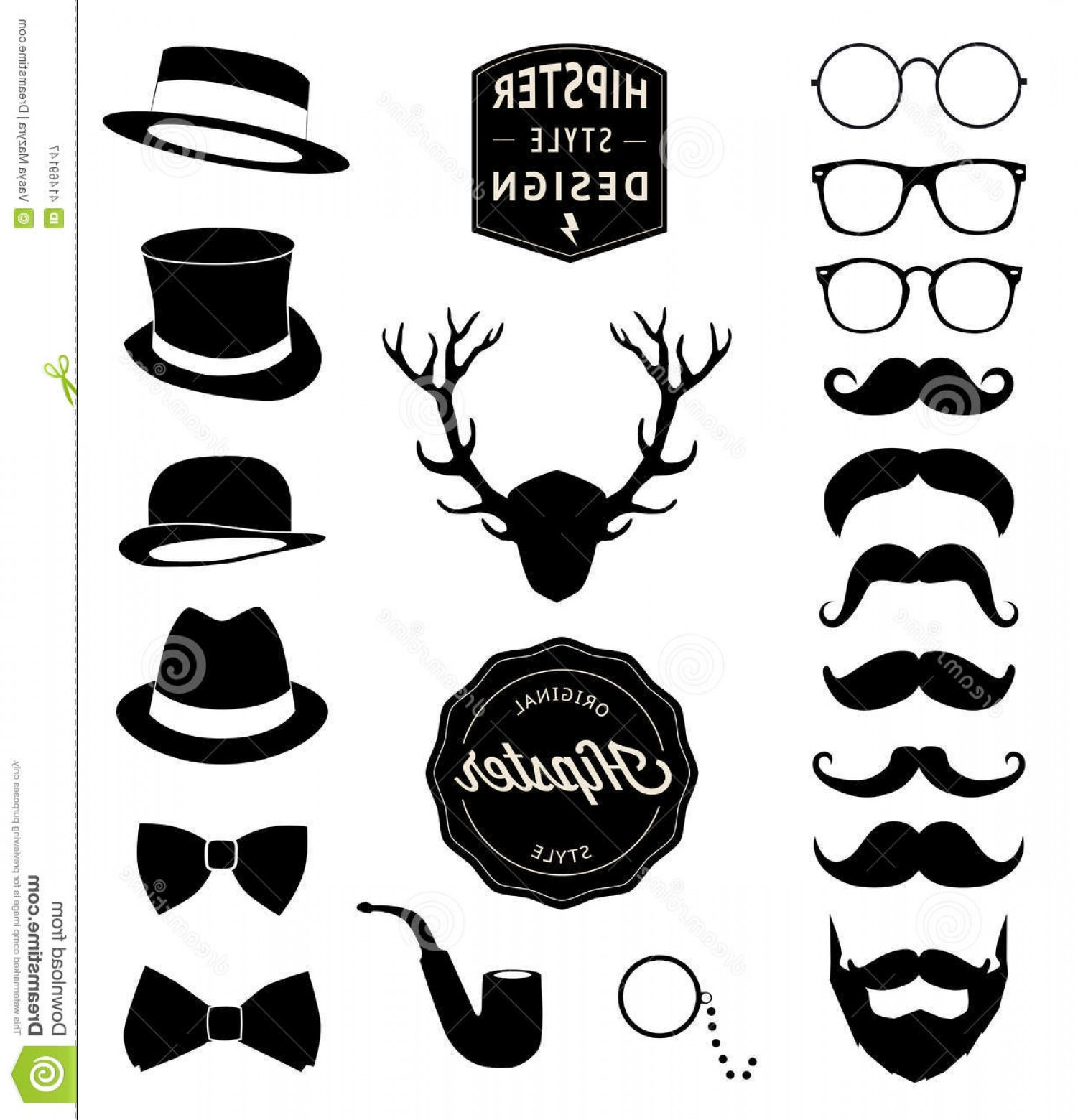 Free Vector Hipster: Stock Illustration Set Collection Vintage Fashion Elements Vector Illustration Styled Design Hipster Icons Image