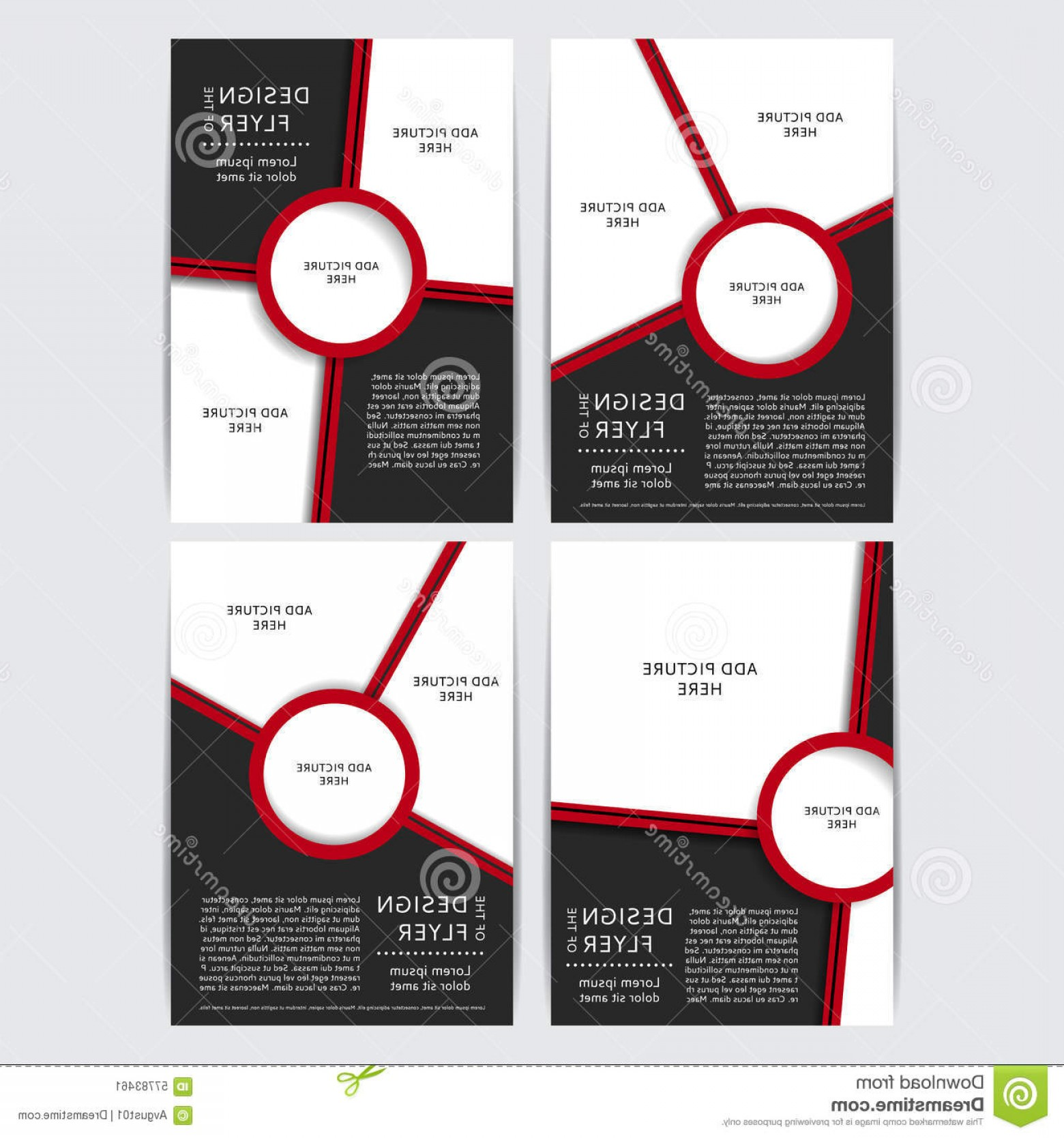 Black And White Flyer Vectors: Stock Illustration Set Design Red Black Flyers Vector Illustration Poster Templates Your Business Image
