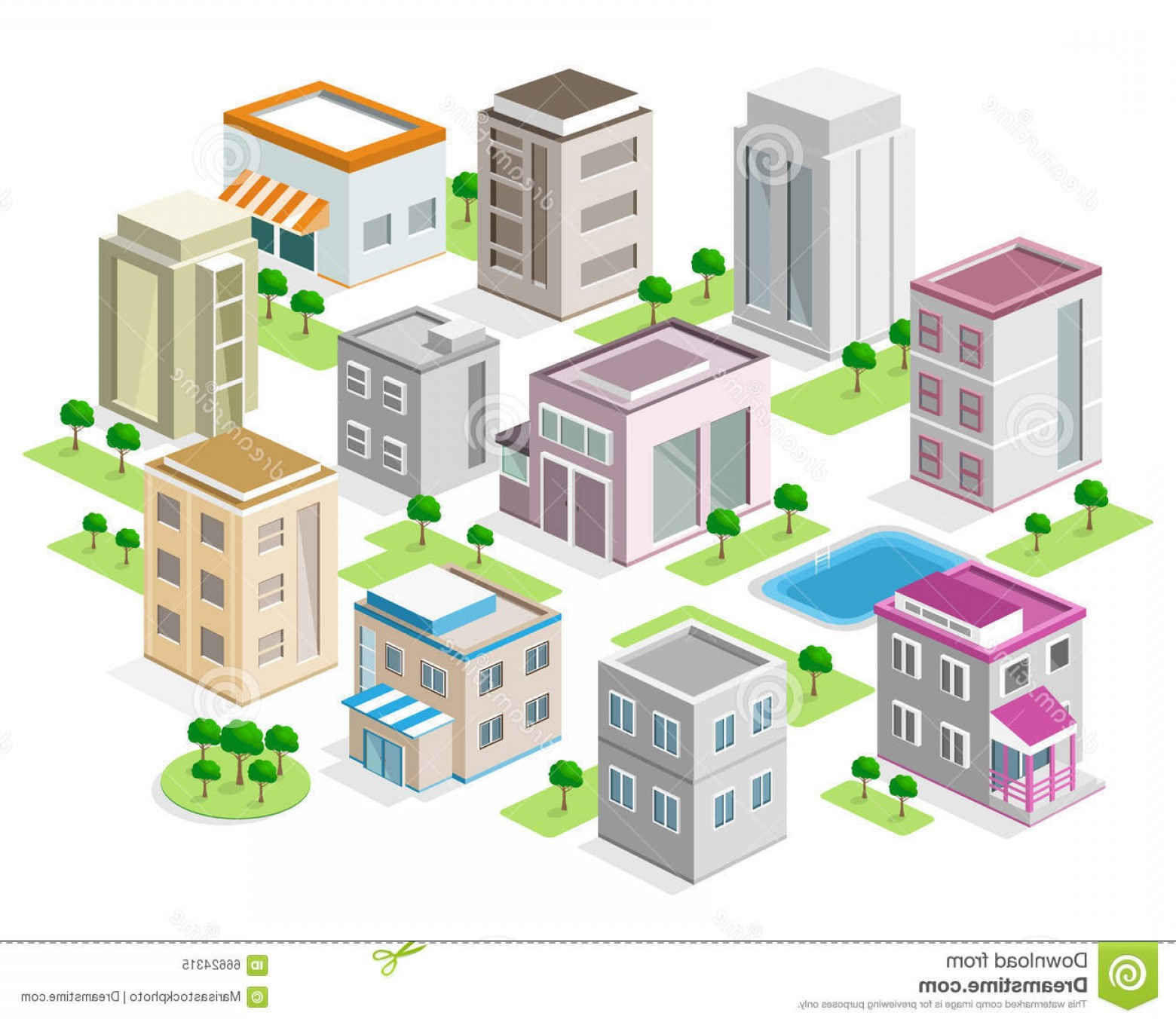 City Building Vector Free Download: Stock Illustration Set Detailed Isometric City Buildings D Vector Isometric City Illustration Image