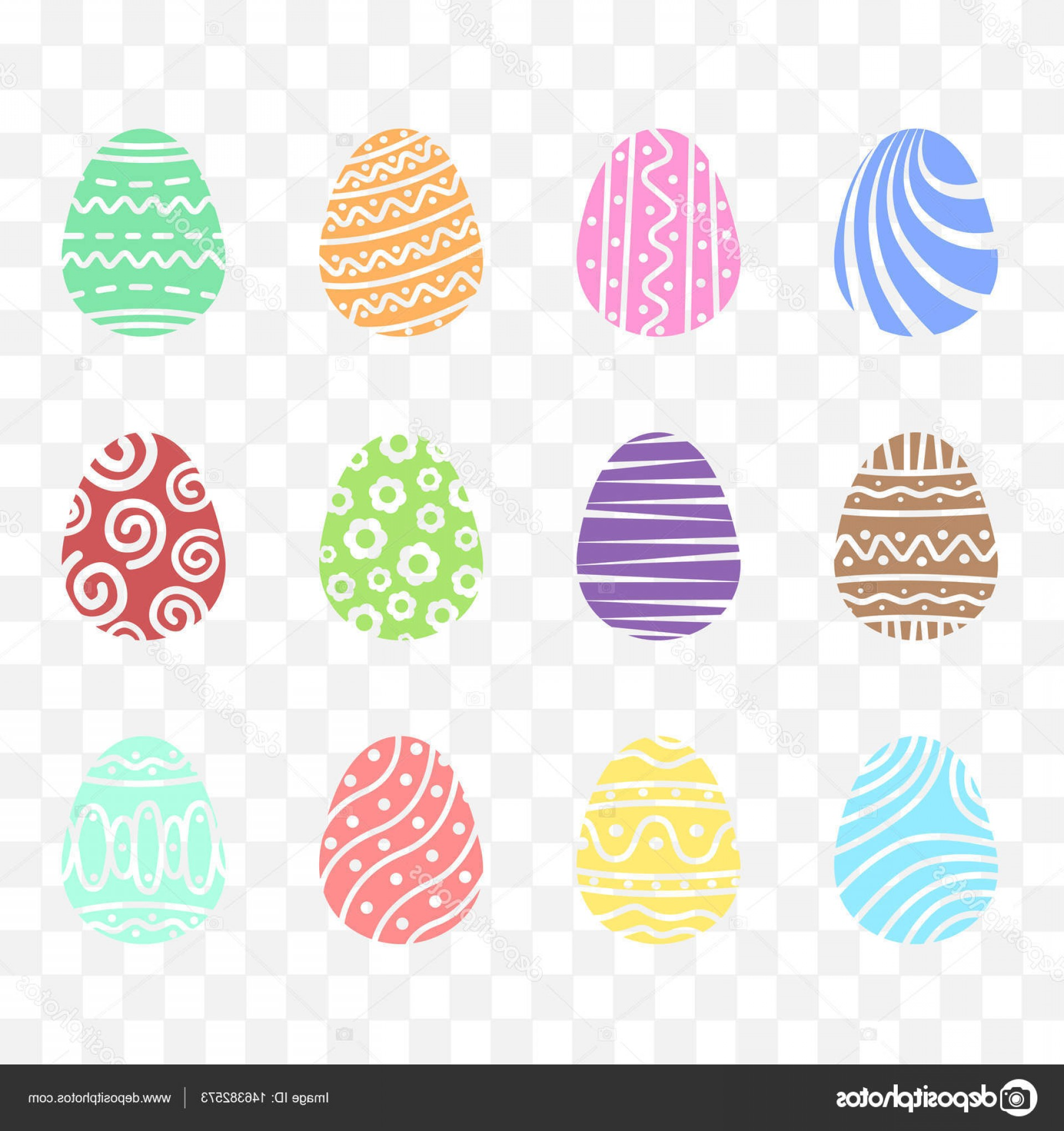 Easter Vector Art No Background: Stock Illustration Set Easter Egg With Ornament