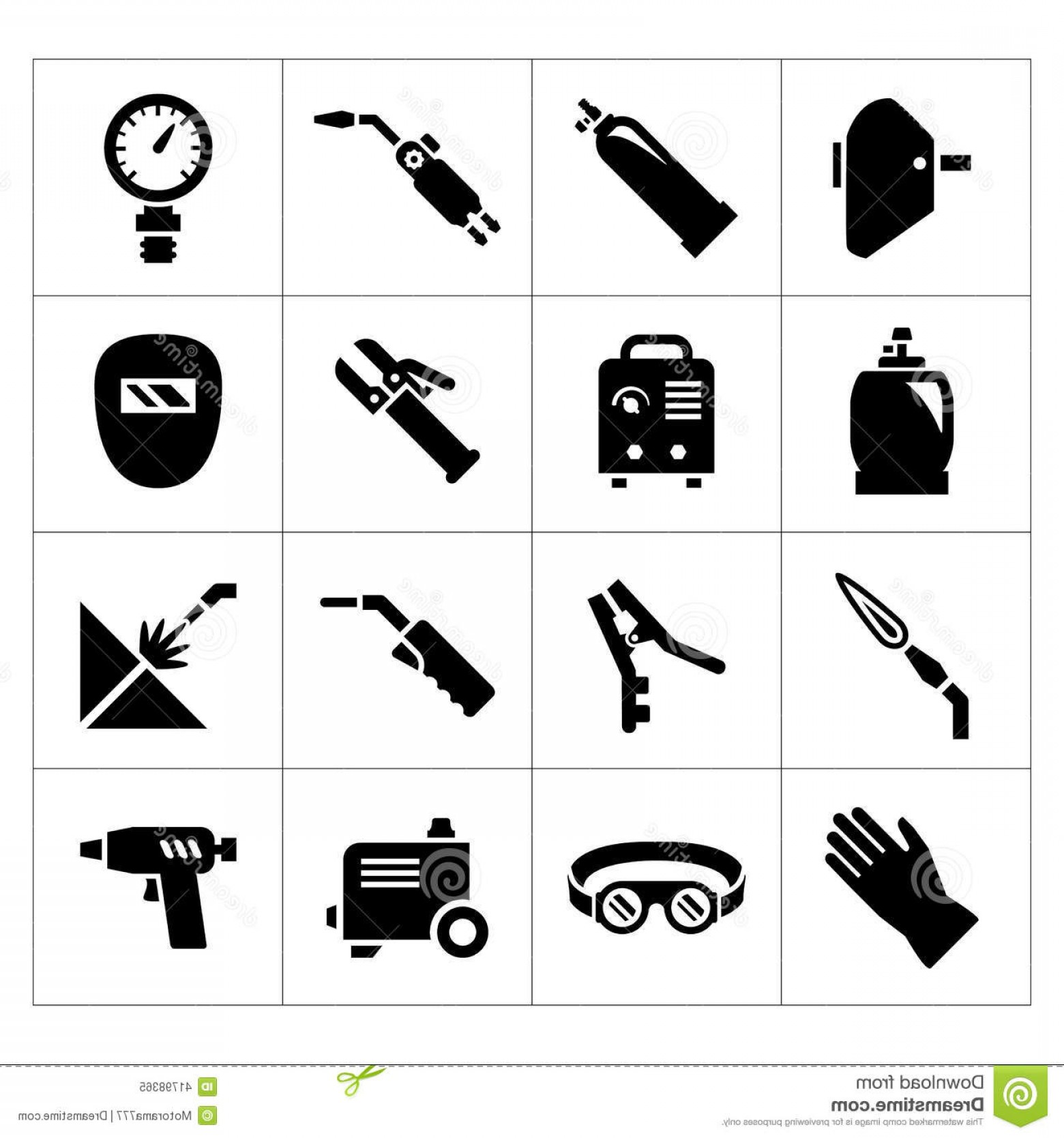 Welder's Torch Vector: Stock Illustration Set Icons Welding Isolated White Image