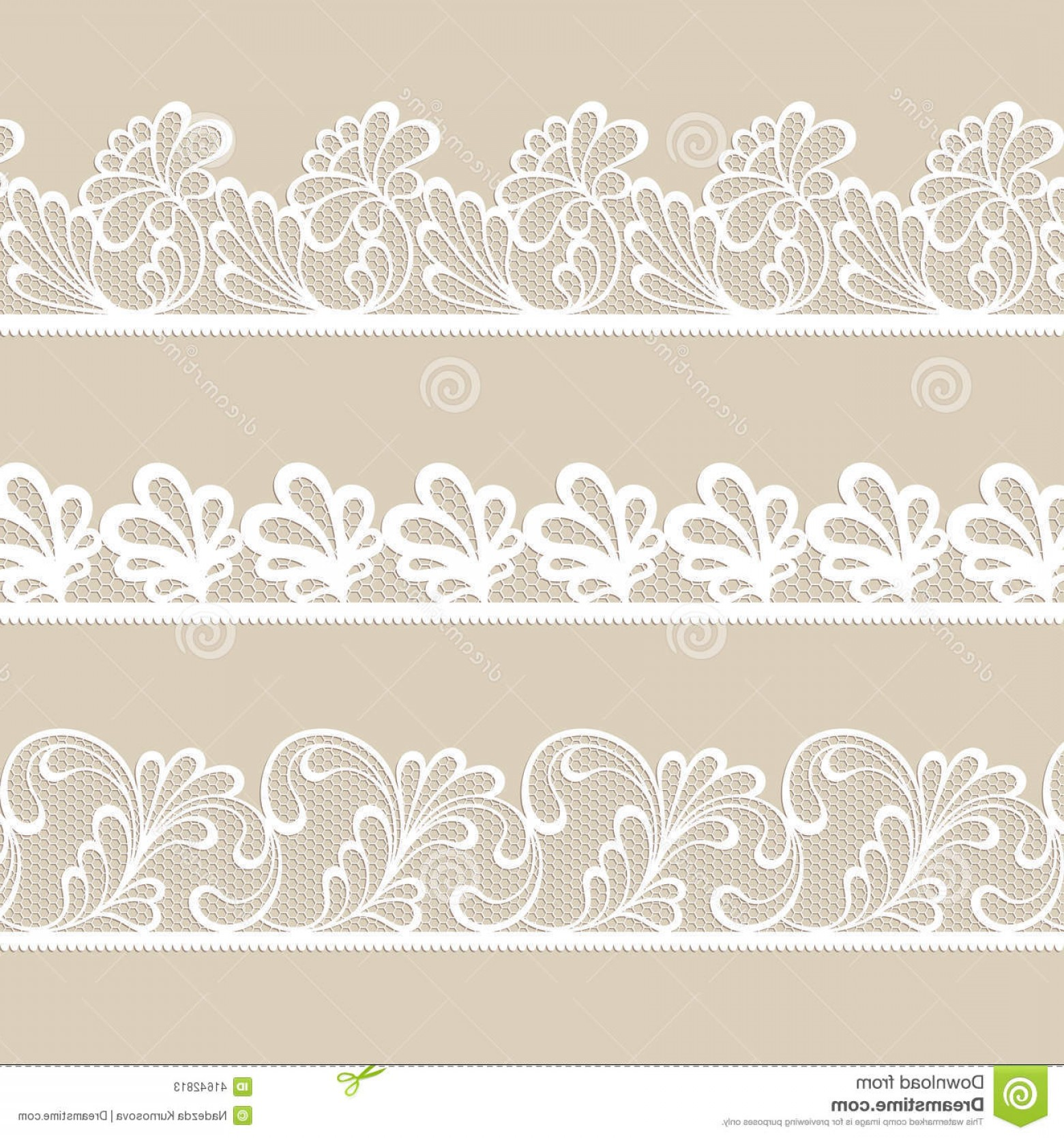White Lace Vector: Stock Illustration Set Lace Vector Borders White Image