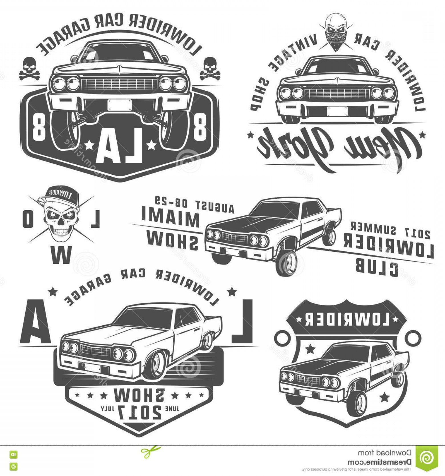 Lowrider Vector: Stock Illustration Set Lowrider Cars Lowrider Lowrider Machine Lowrider Emblems Design Image