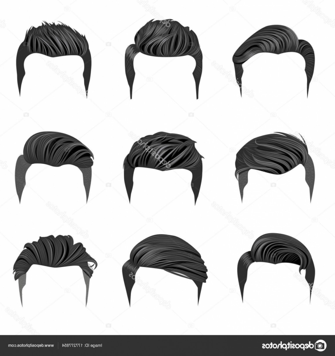 Short Men's Hair Vector: Stock Illustration Set Men Hairstyles Hipster Hair