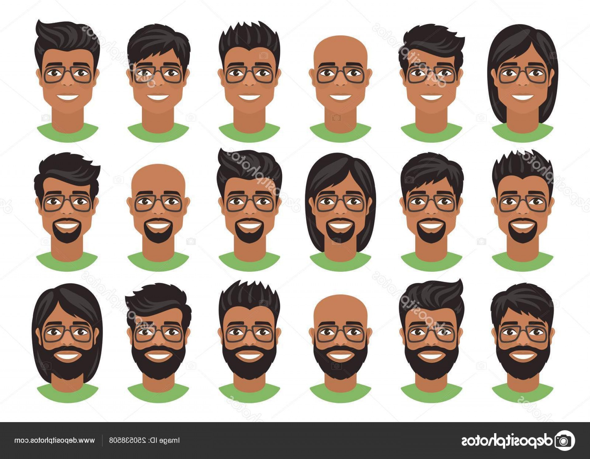 Short Men's Hair Vector: Stock Illustration Set Mens Avatars Various Hairstyles