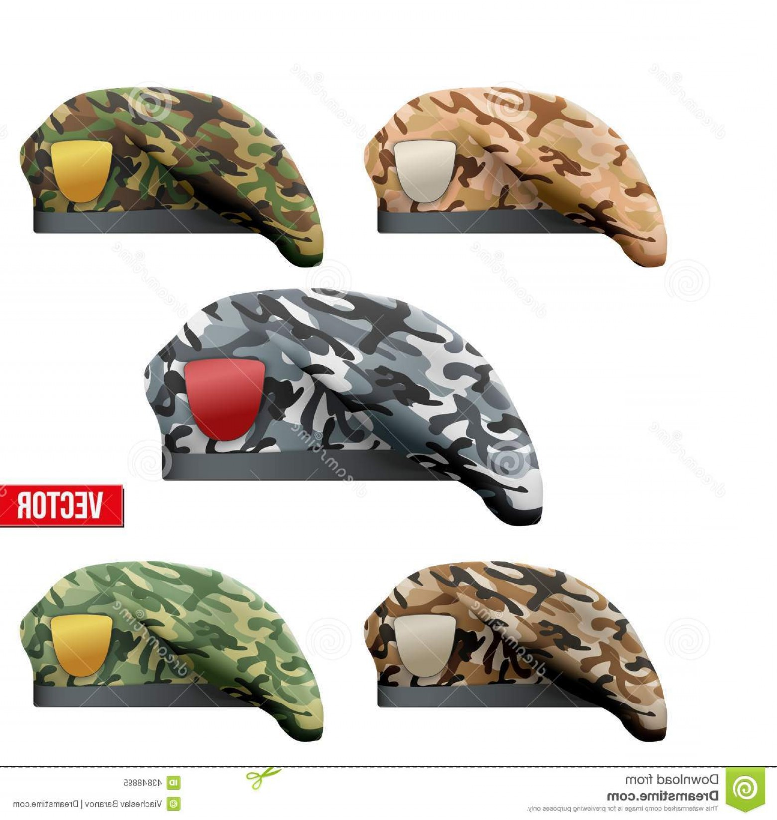 Vector Special Forces Helmet: Stock Illustration Set Military Camo Beret Special Forces Texture Army Vector Illustration Isolated White Background Image