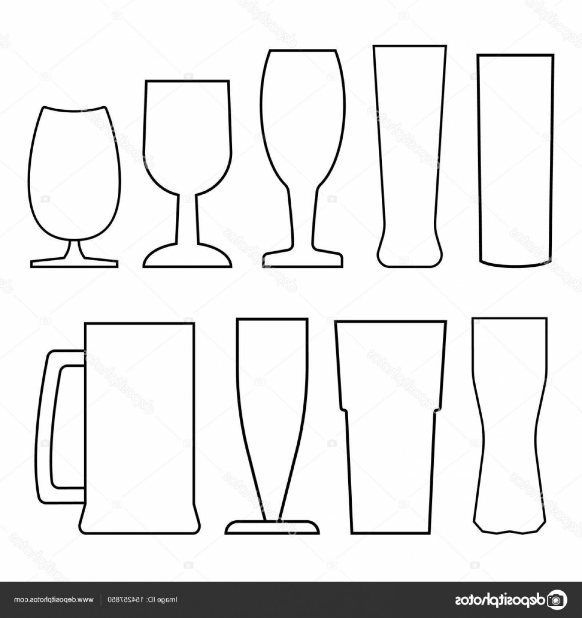Beer Chalice Vector Logo: Stock Illustration Set Of Beer Glasses And