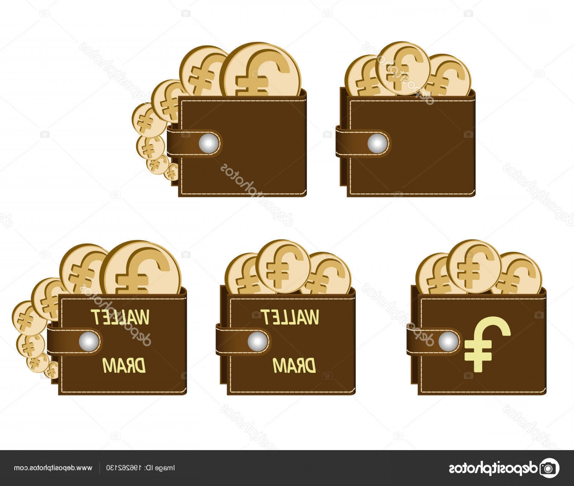 BBB Logo In Vector Form: Stock Illustration Set Of Brown Wallets With