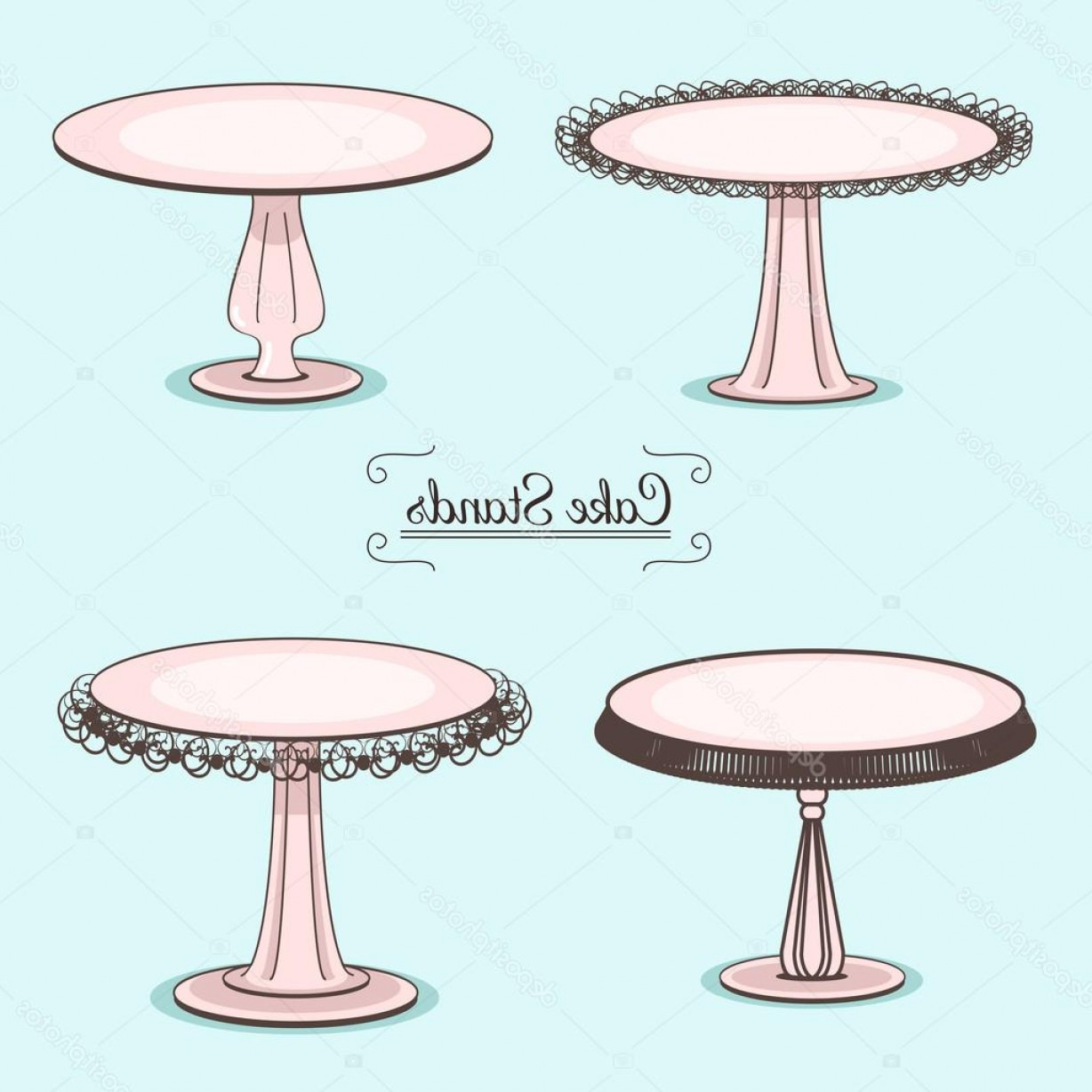 Cake Stand Vector: Stock Illustration Set Of Cake Stands