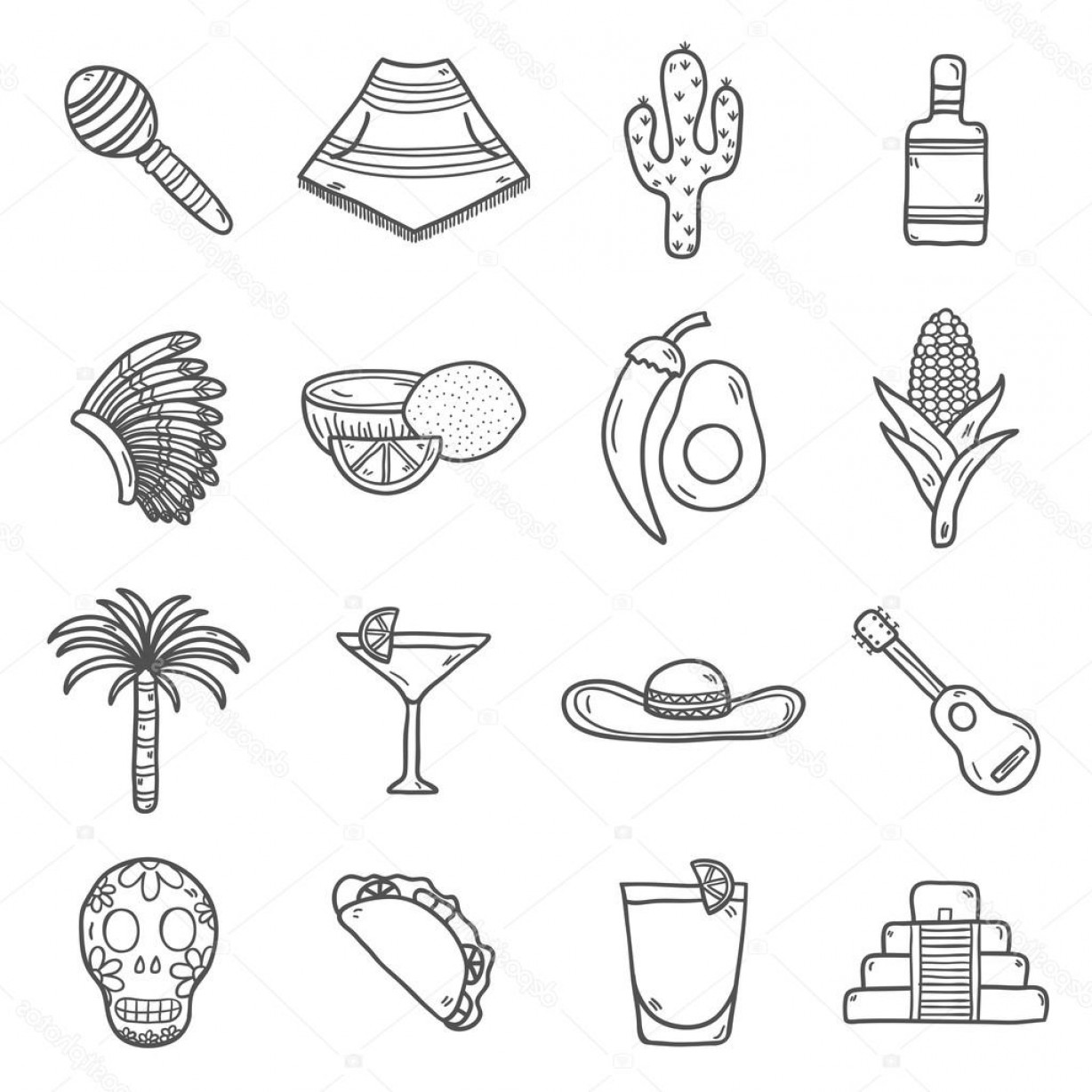 Sombrero Vector Outline: Stock Illustration Set Of Cute Hand Drawn