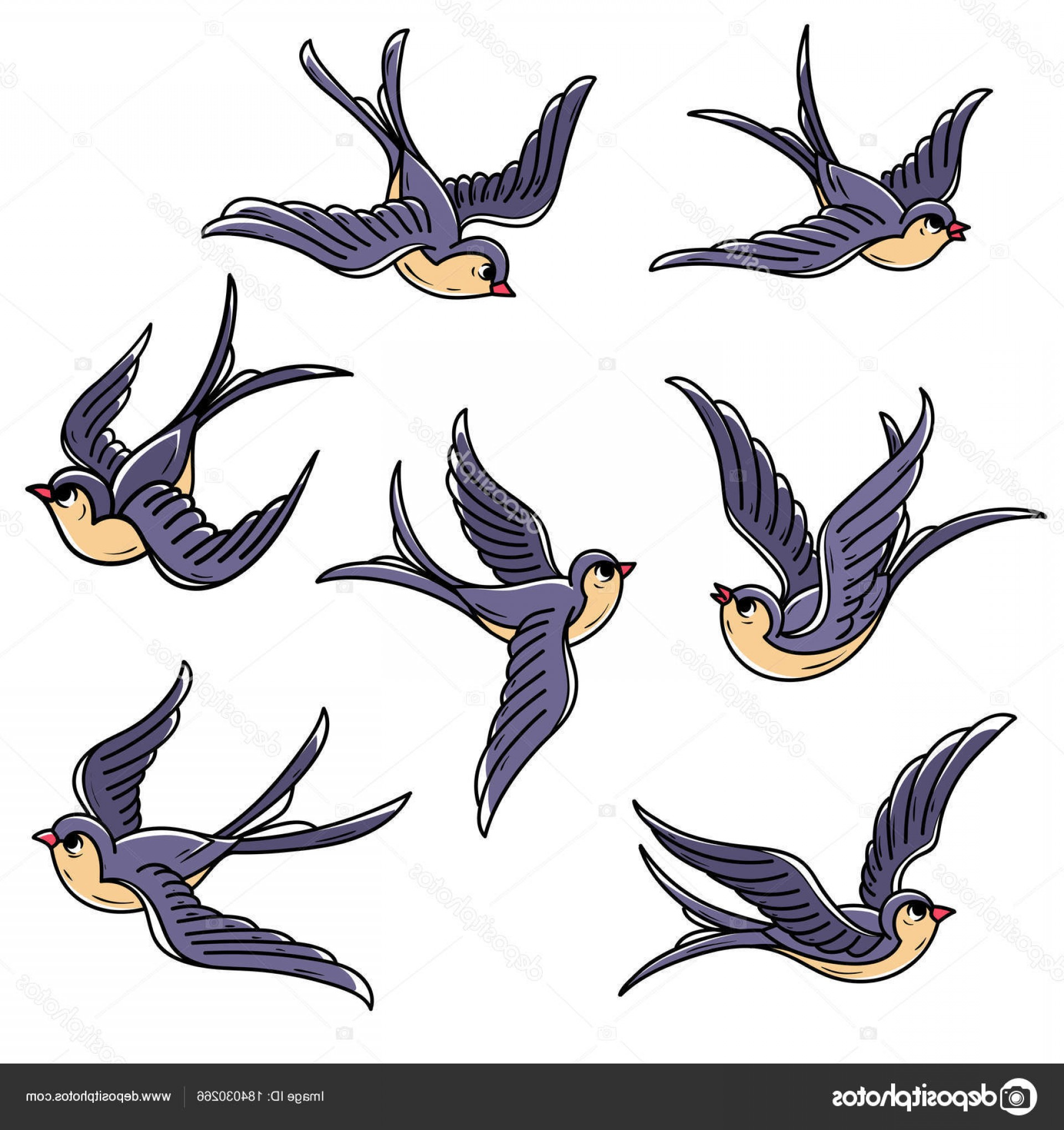 Swallow Vector: Stock Illustration Set Of Flying Swallows Free