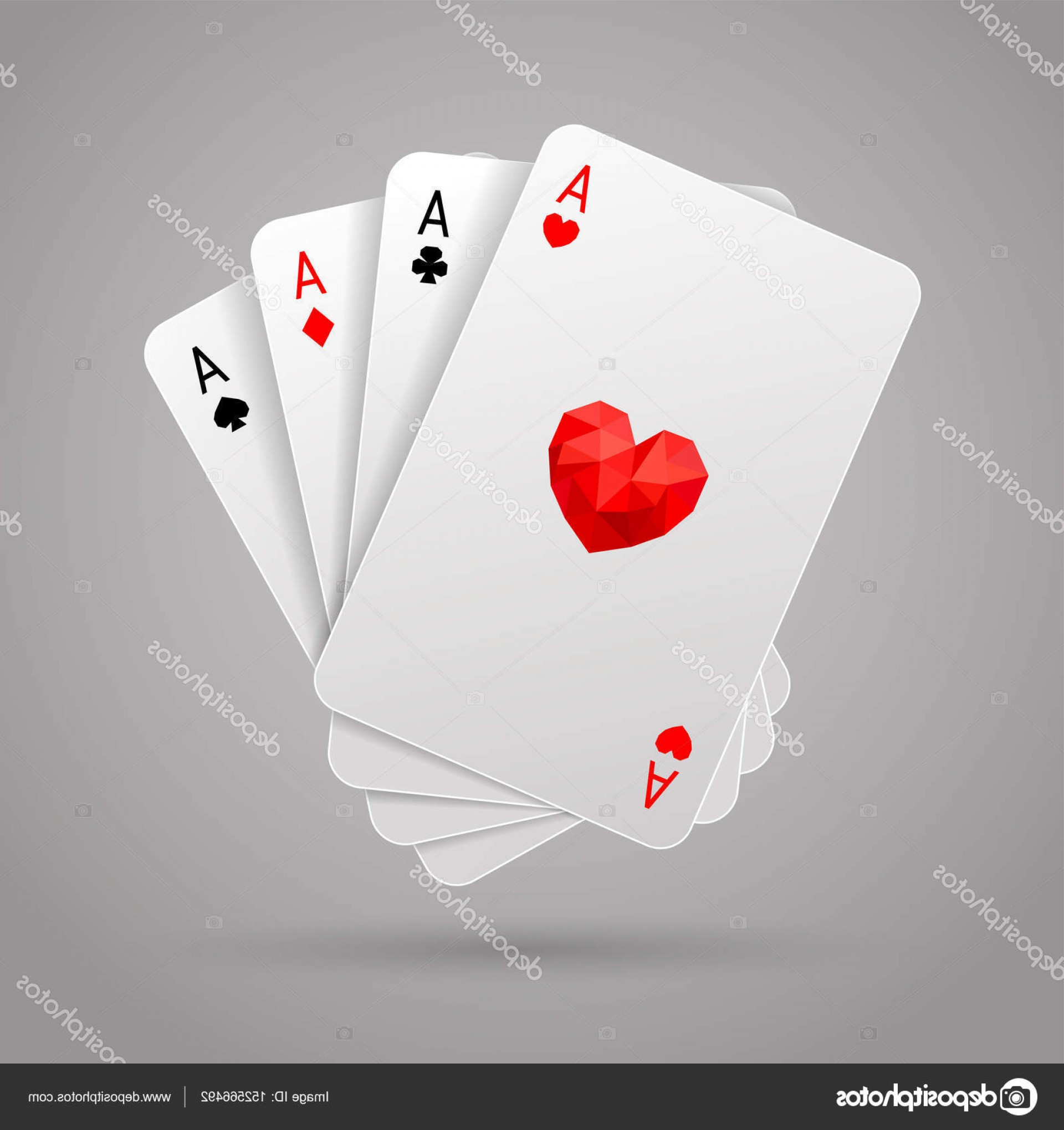 Poker Hand Vector: Stock Illustration Set Of Four Aces Playing