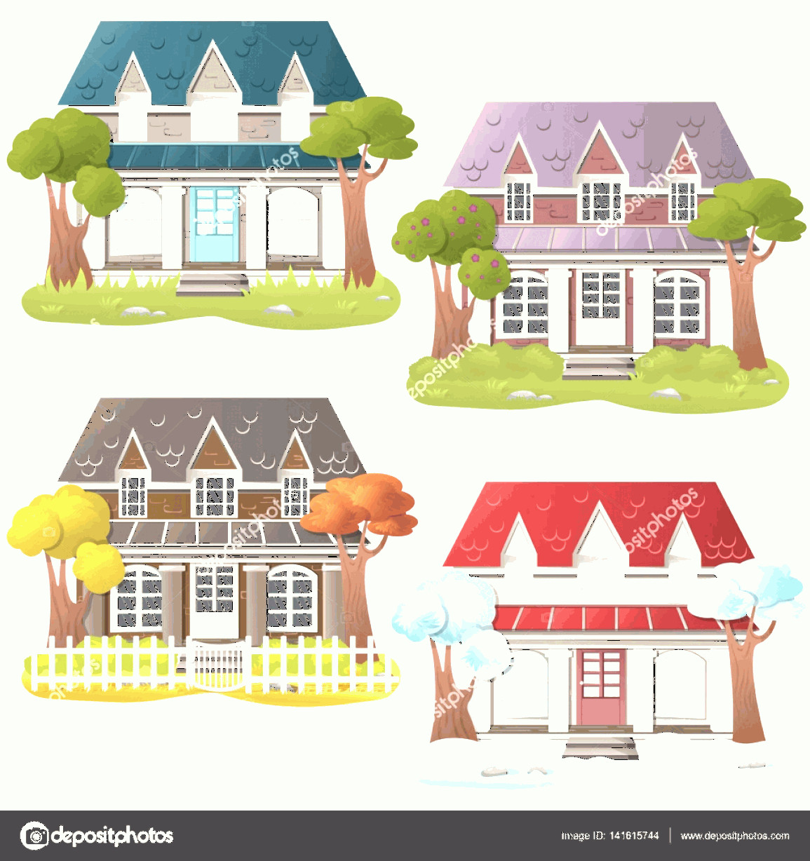 Flat Vector House: Stock Illustration Set Of Four Vector Houses