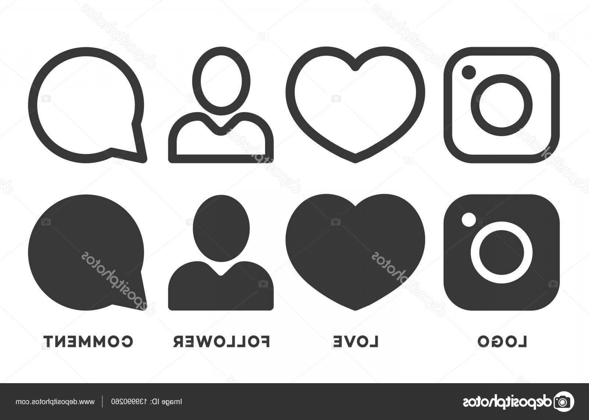 Official Instagram Icon Vector: Stock Illustration Set Of Instagram Icon Black