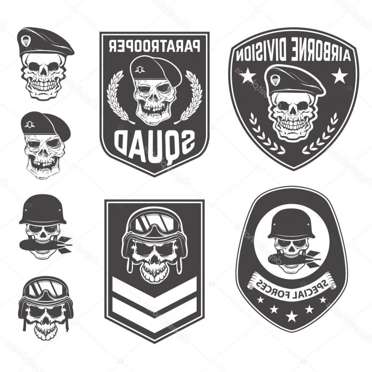 Distressed Football Helmet Vector: Stock Illustration Set Of Military Emblems And