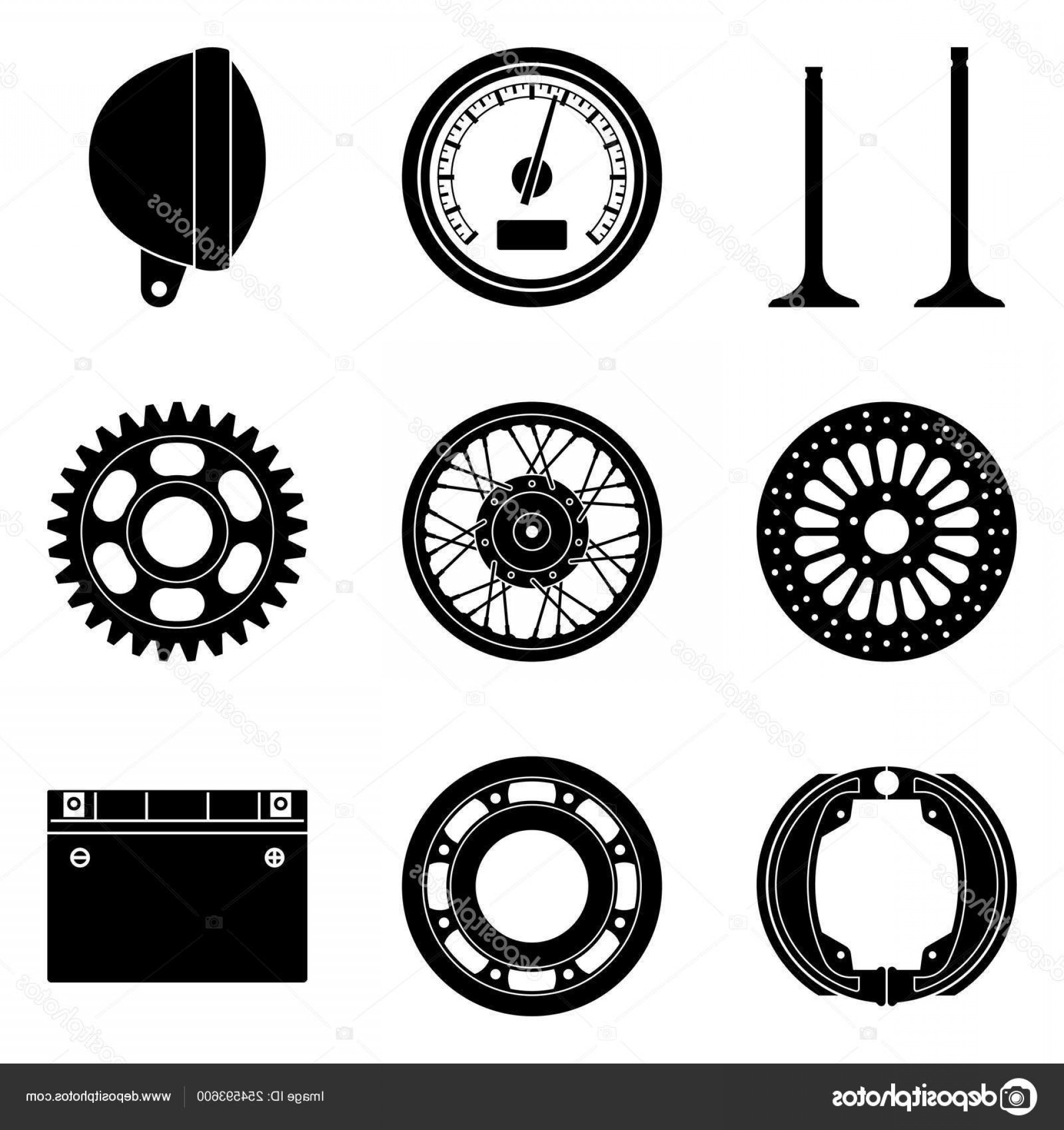 Vector Motorcycle Parts: Stock Illustration Set Of Motorcycle Parts Icons