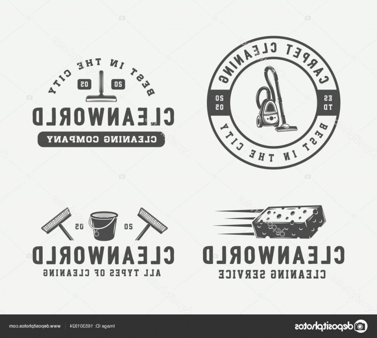 Cleaning Logo Vector Art: Stock Illustration Set Of Retro Cleaning Logo