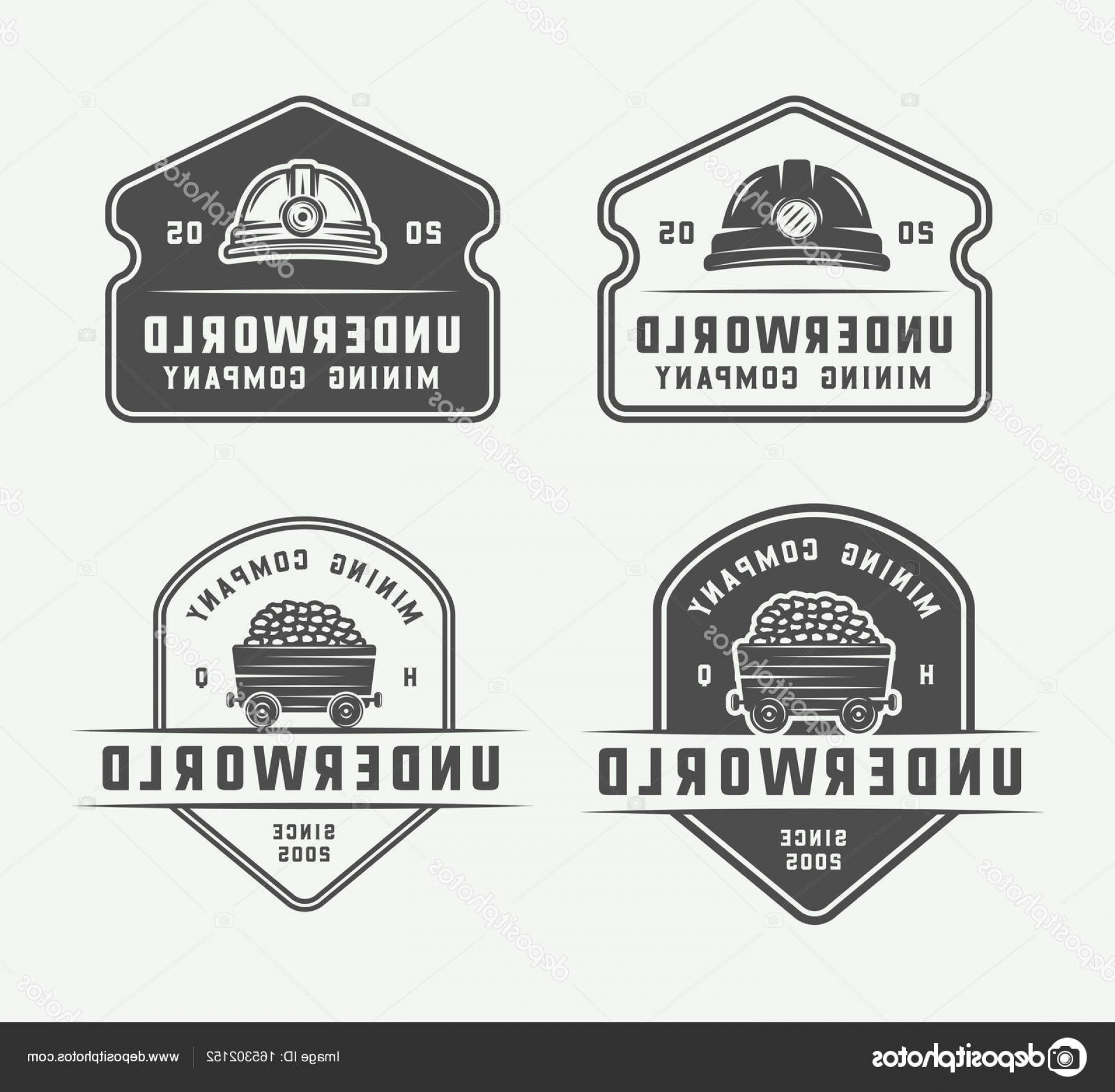 Construction Logos Vector Black And White: Stock Illustration Set Of Retro Mining Or