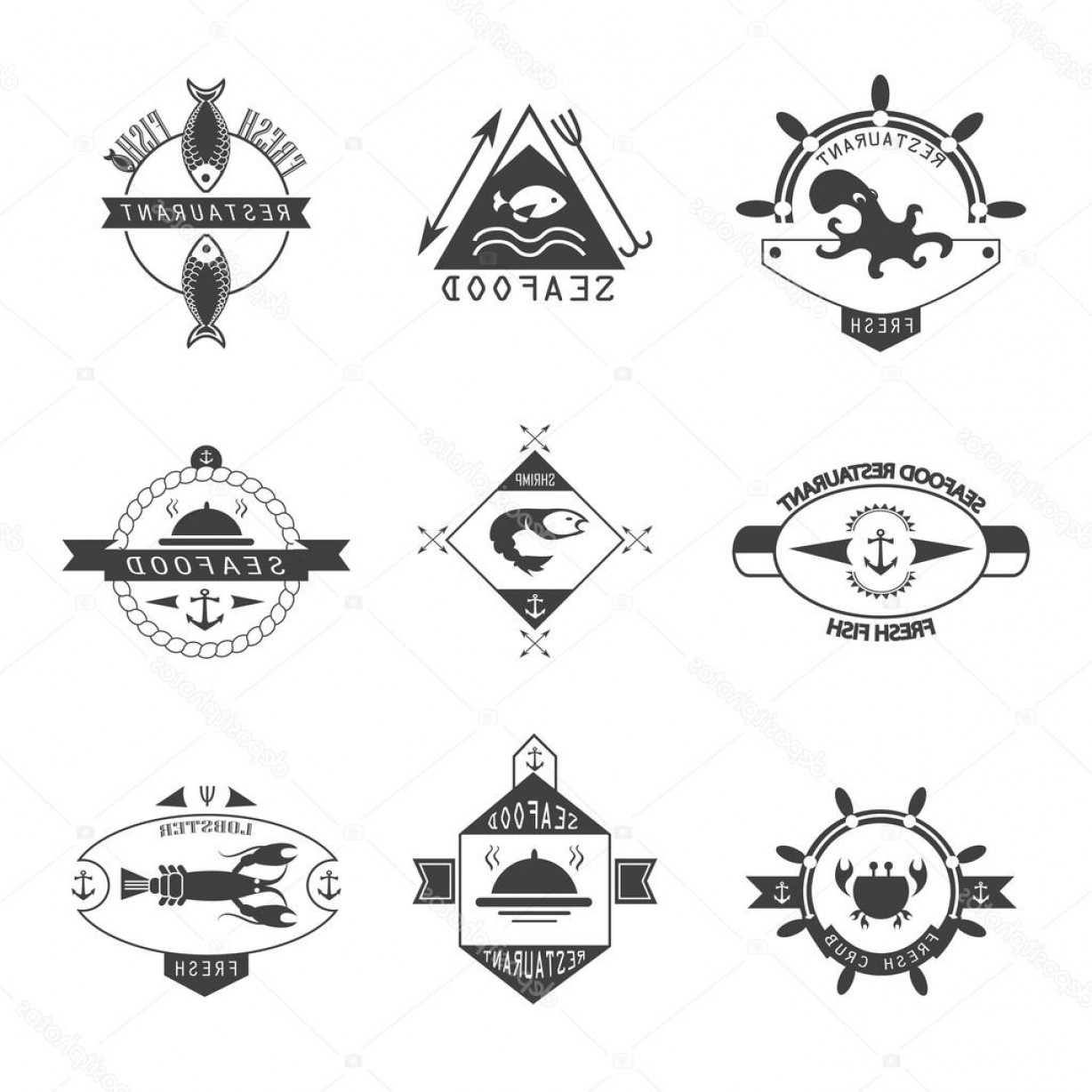 Vector Oyster Shooter: Stock Illustration Set Of Seafood Logos