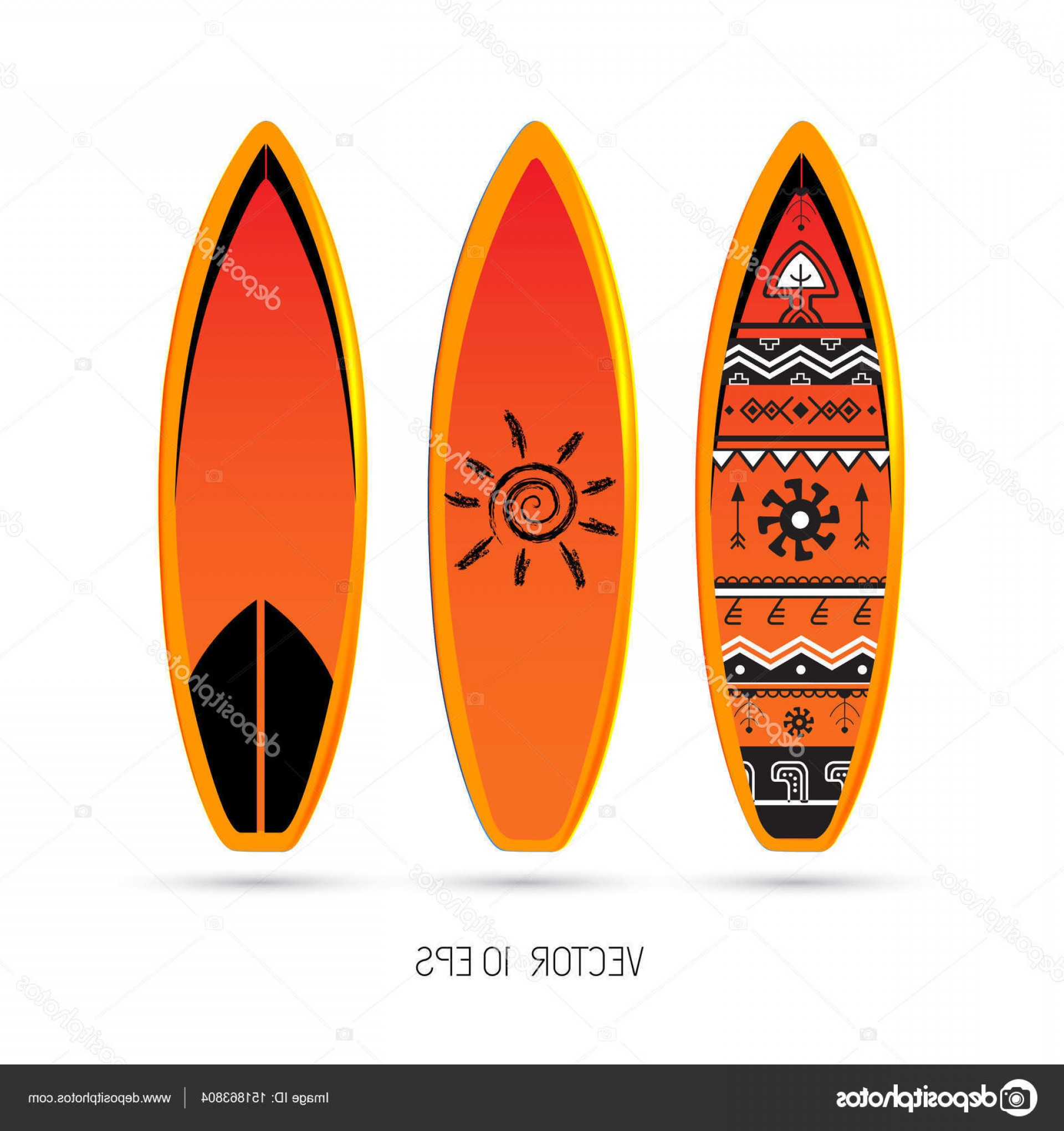 Orange Surfboard Vector: Stock Illustration Set Of Surfboards Vector Illustration