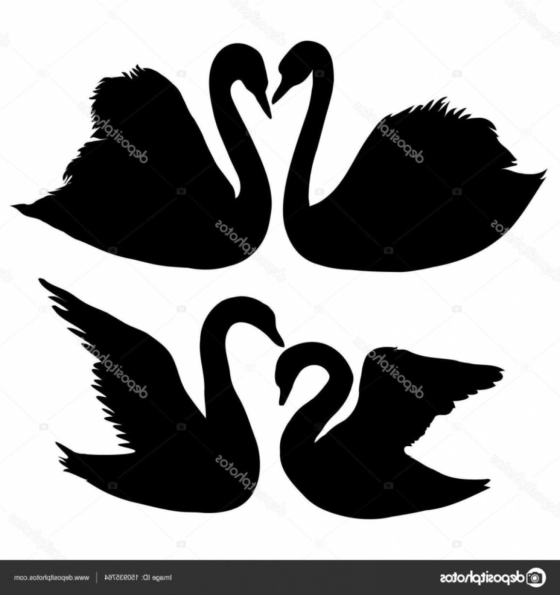 Swan Silhouette Vector: Stock Illustration Set Of Swan Silhouettes