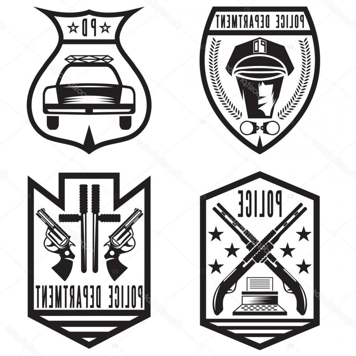 Law Enforcement Badges Vector: Stock Illustration Set Of Vintage Police Law