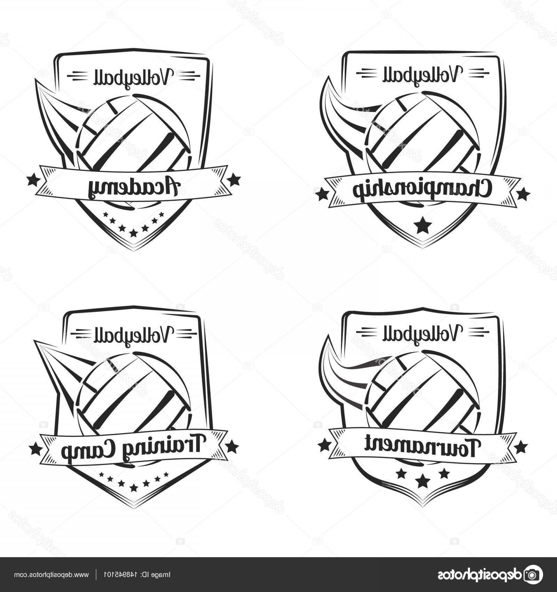 Volleyball Vector Logo: Stock Illustration Set Of Volleyball Vector Hand