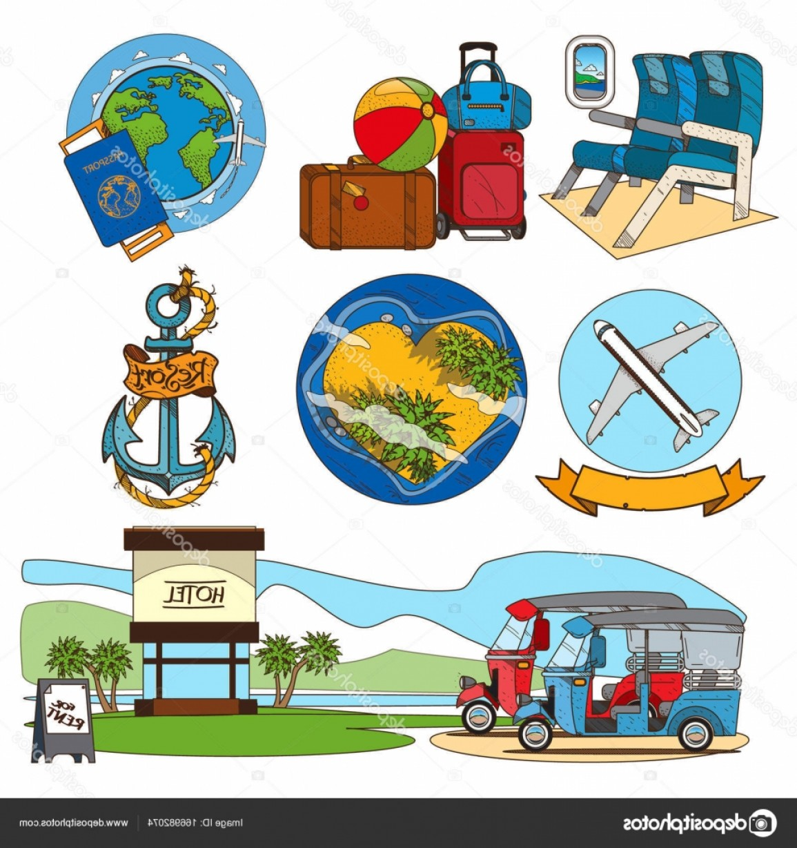 Massport Vector: Stock Illustration Set On The Theme Of