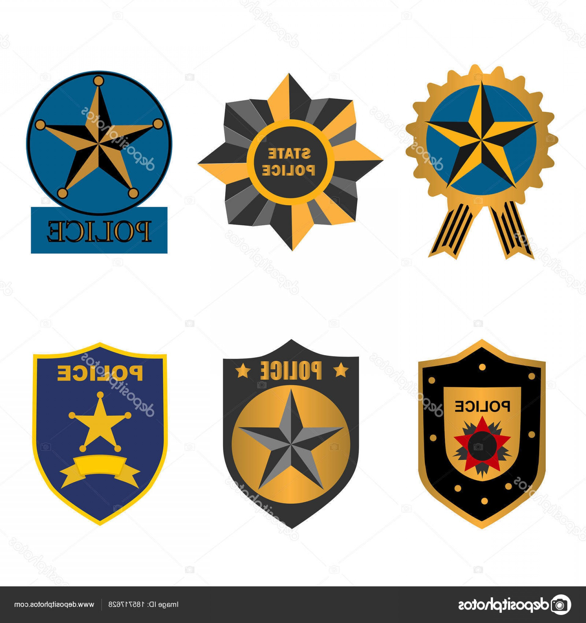 Law Enforcement Badges Vector: Stock Illustration Set Police Law Enforcement Badges