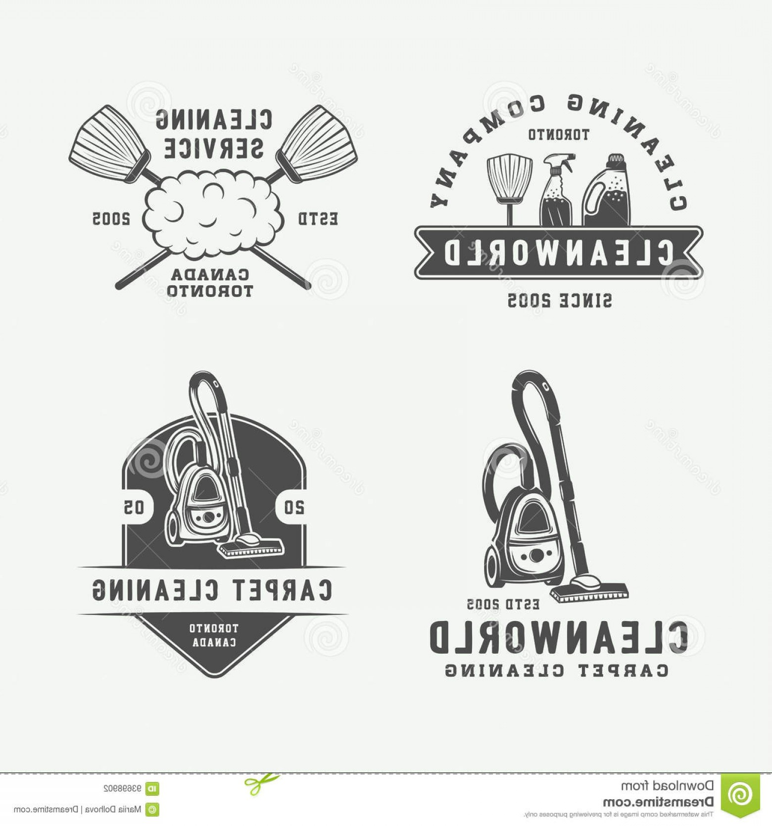 Cleaning Logo Vector Art: Stock Illustration Set Retro Cleaning Logo Badges Emblems Labels Vintage Style Monochrome Graphic Art Vector Illustration Image