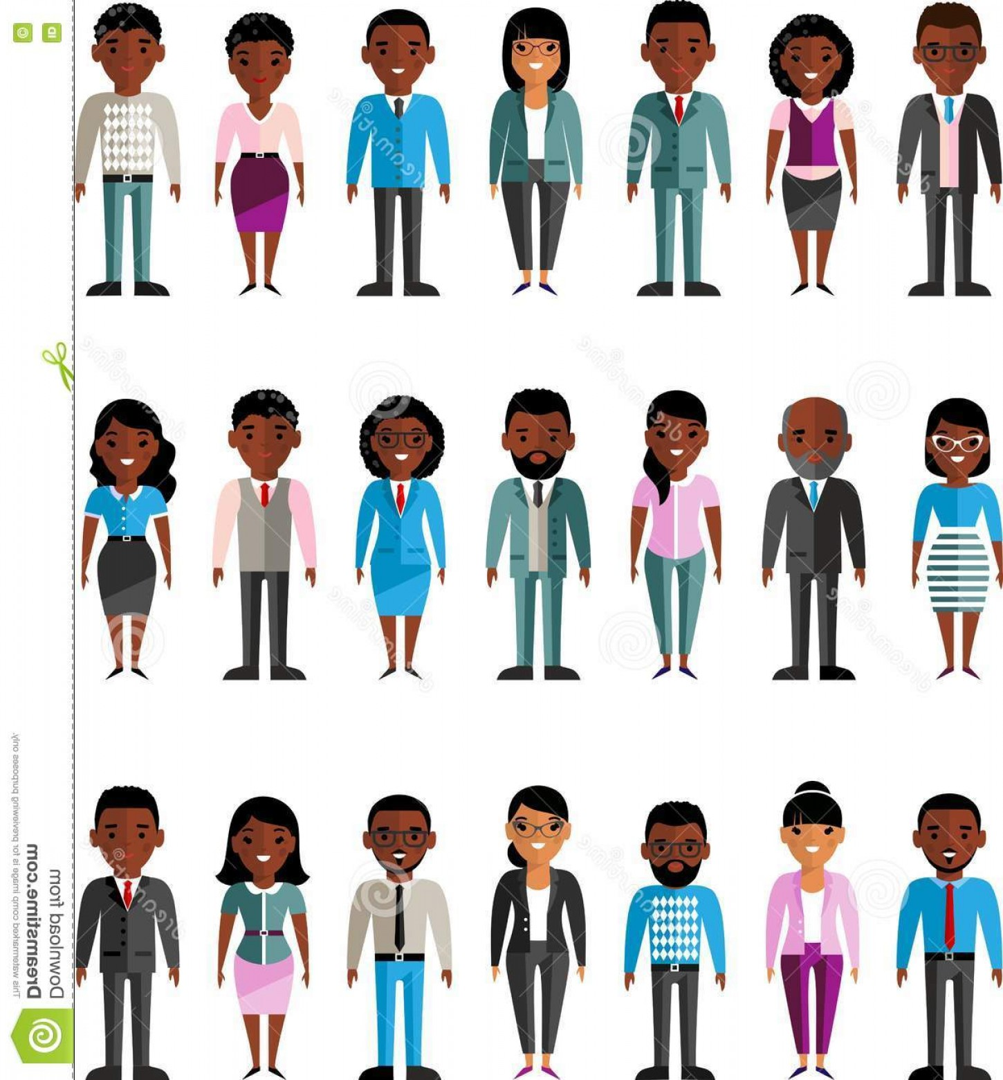 Vector African People: Stock Illustration Set Vector African American Business Peoples Illustration International Different Manager Man Woman Image