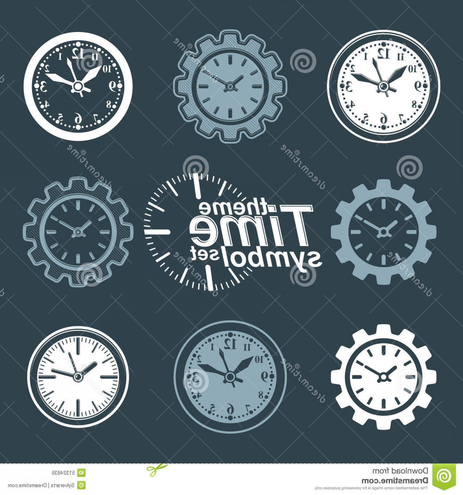 Vector Mechanical Clock Wheels: Stock Illustration Set Vector Engineering Components Cog Wheels Time Management Theme D Stylized Invert Clocks Shape Gear Image