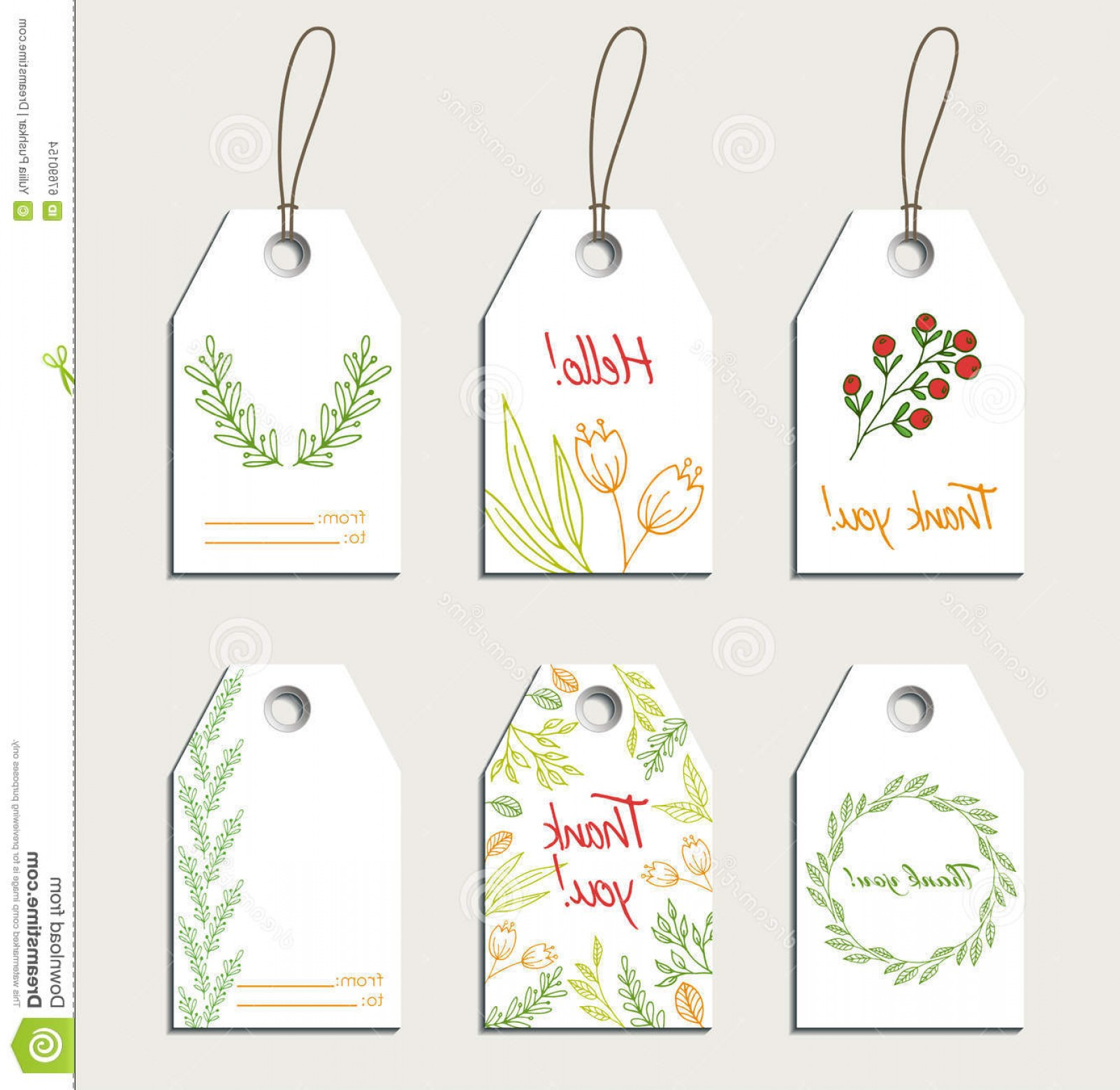 Gift Tags Vector Art: Stock Illustration Set Vector Floral Gift Tags Thank You Cards Image