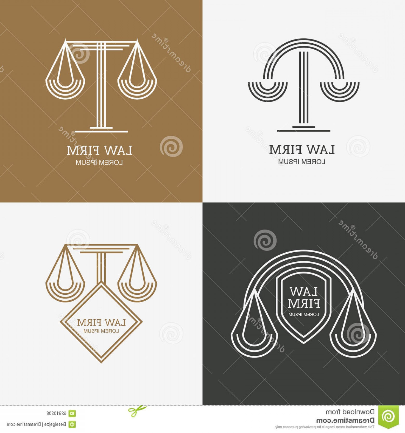 Vintage Sign Vector Attorney-Law: Stock Illustration Set Vector Line Style Vintage Law Firm Logo Design Template Trendy Abstract Illustration Scales Shield Concept Image