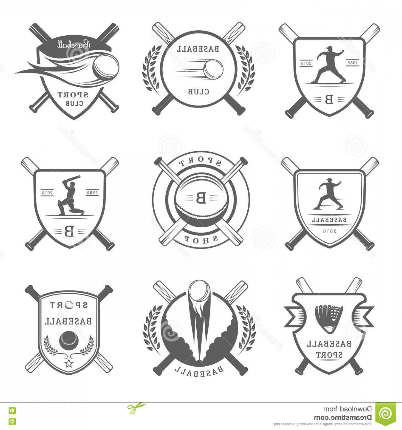 Vector Baseball Cross: Stock Illustration Set Vector Logo Badges Baseball Vintage Labels Sign Icons Outfit Collection Club Emblem Design Elements Image
