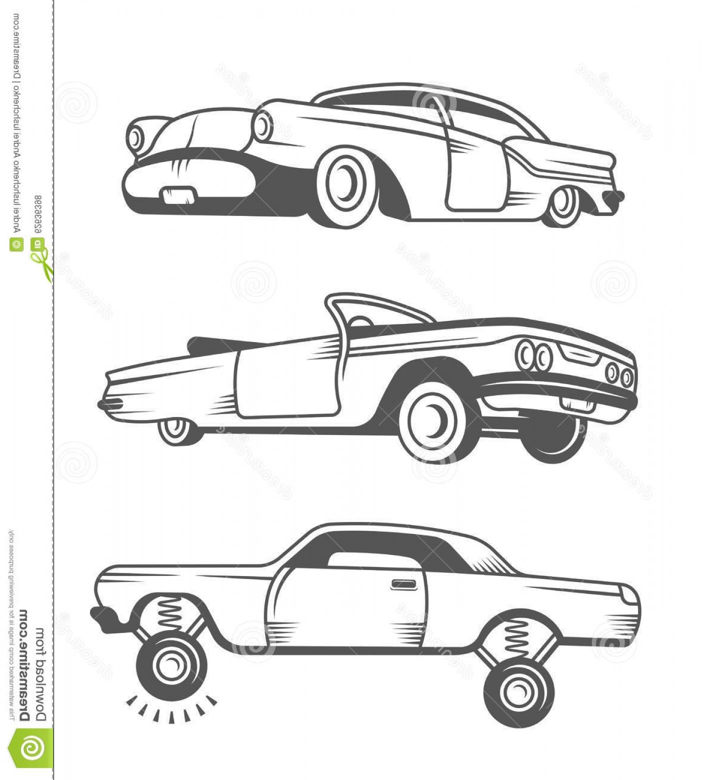Lowrider Vector: Stock Illustration Set Vector Vintage Old Cars Lowrider Elements Design Collection Black White Classic Retro Car Stock Image