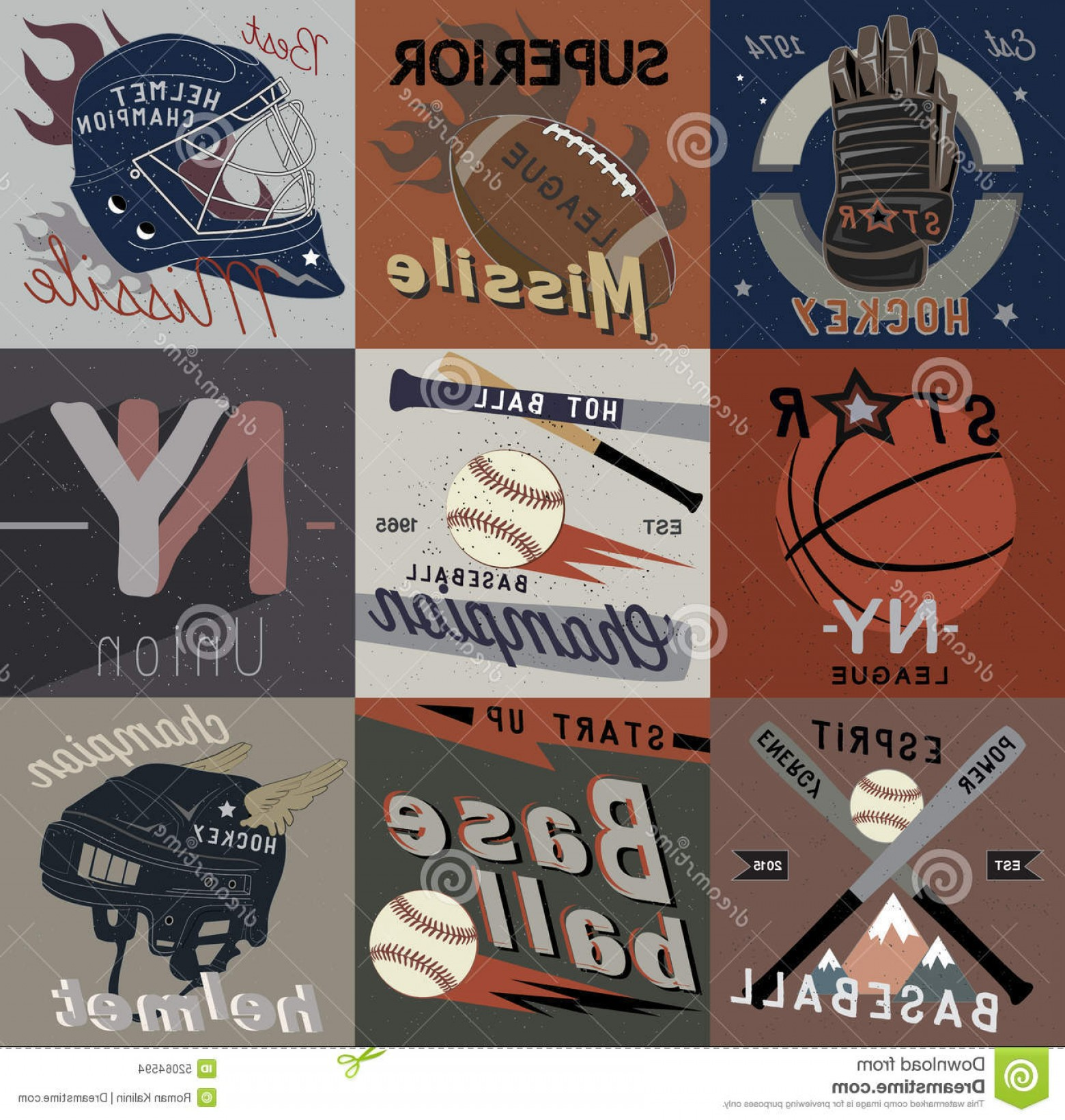Vintage Basketball Vector: Stock Illustration Set Vintage Sports Vector Logos Labels Design Elements Emblems Rugby Hockey Basketball Baseball Image