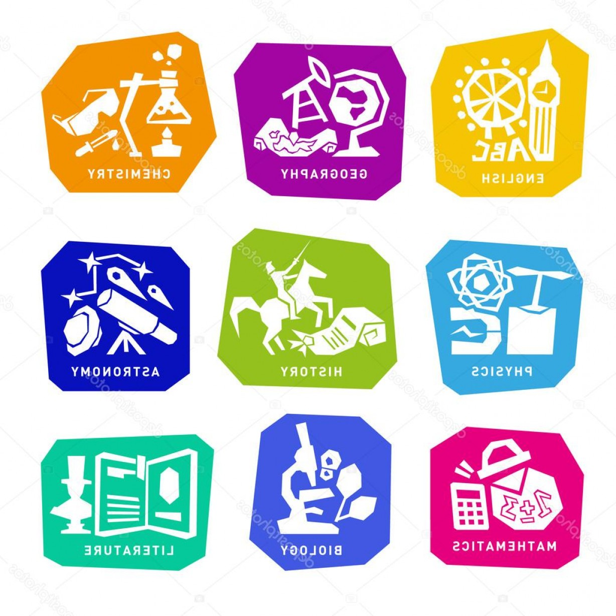 Vector ABC History: Stock Illustration Set With School Subjects Icons