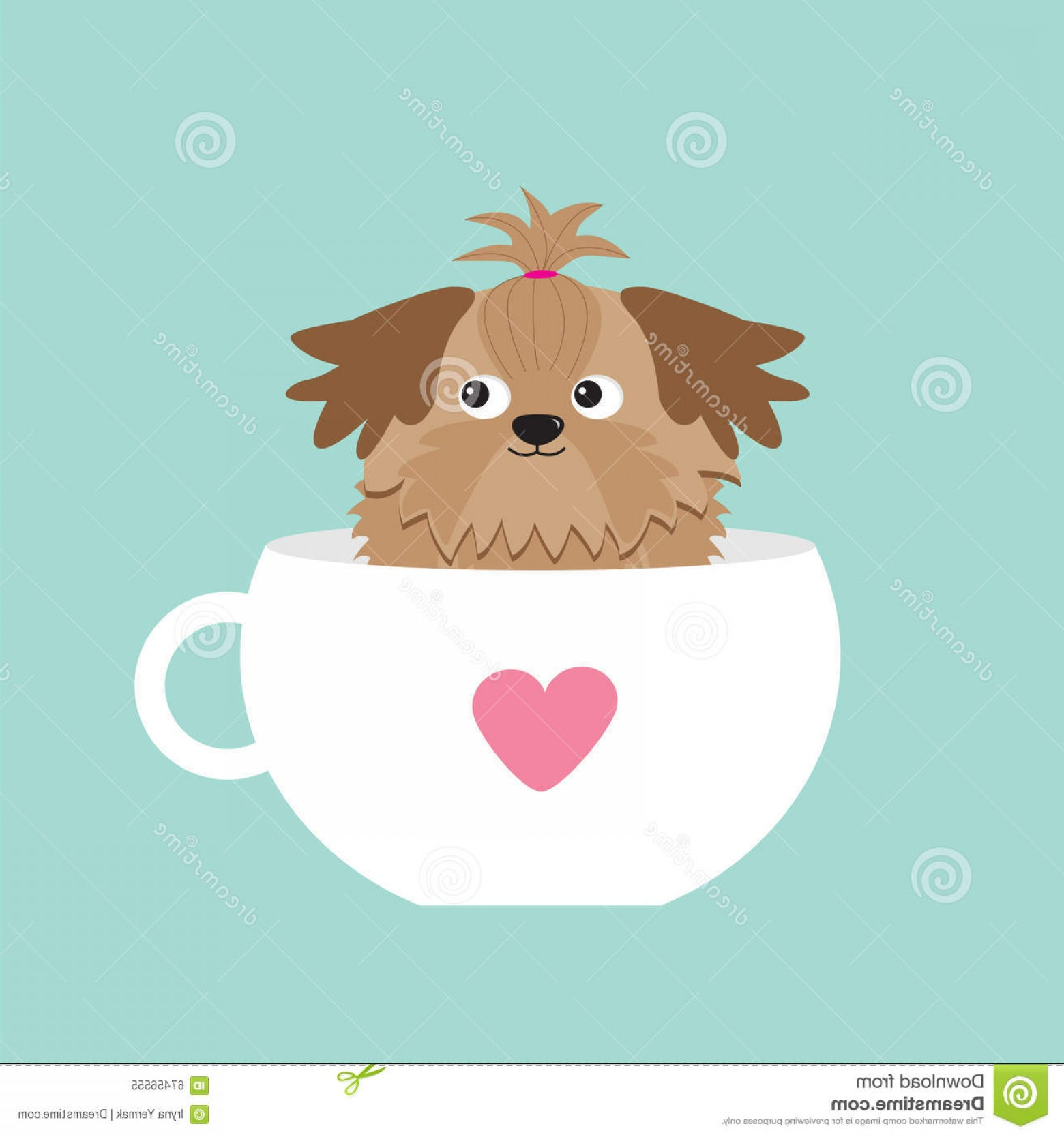 Shih Tzu Vector Siluete: Stock Illustration Shih Tzu Dog Sitting Pink Cup Heart Cute Cartoon Character Flat Design Blue Background Vector Illustration Image