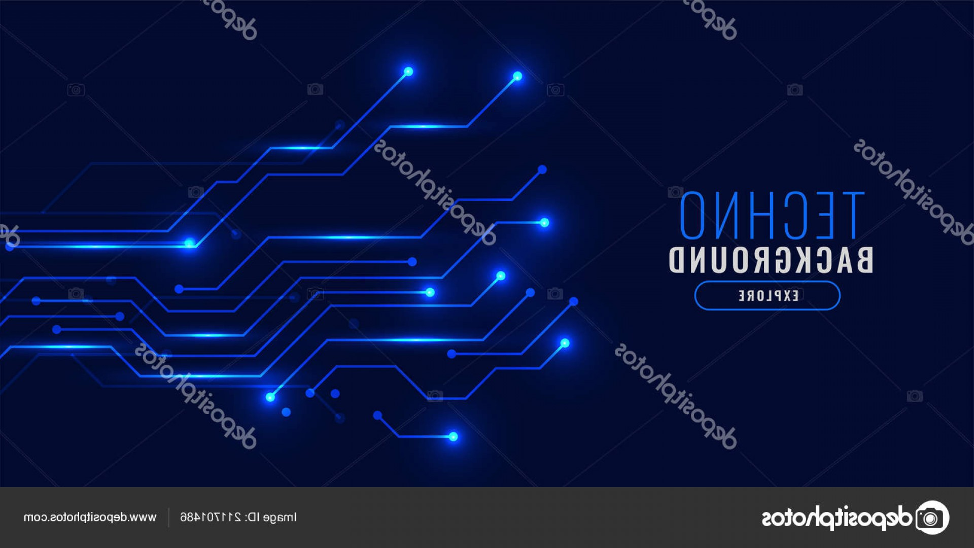 Blue Technology Vector Illustration: Stock Illustration Shiny Blue Technology Background Concept