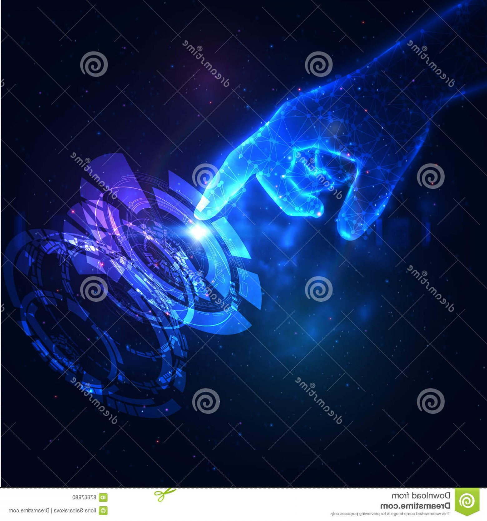 Blue Technology Vector Illustration: Stock Illustration Shiny Blue Technology Background Vector Hand Holding Energy Ball Eps Image