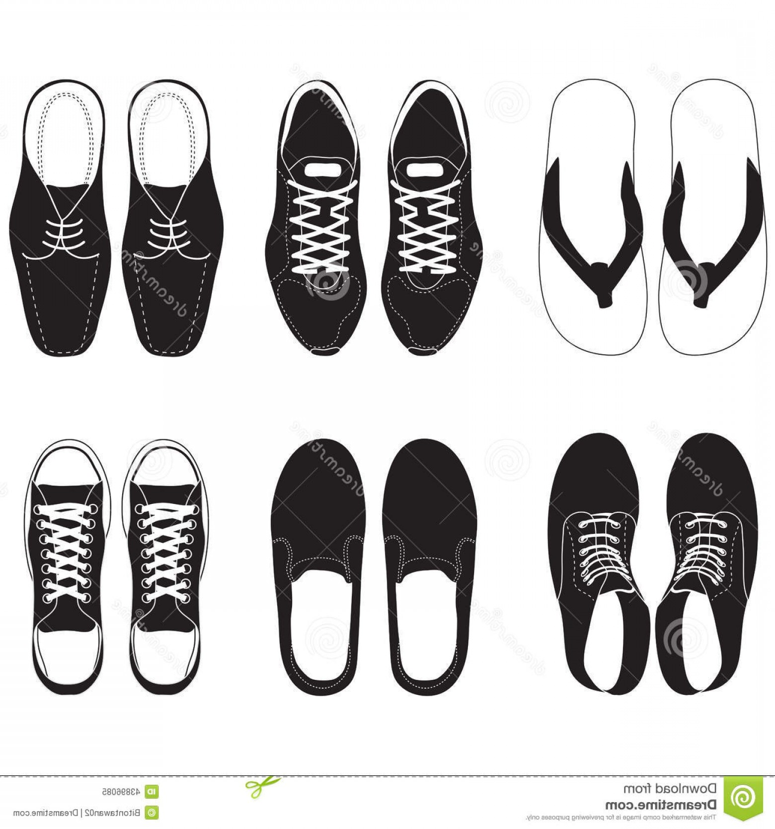Sneaker Silhouette Vector: Stock Illustration Shoe Vector Set Black Top Image