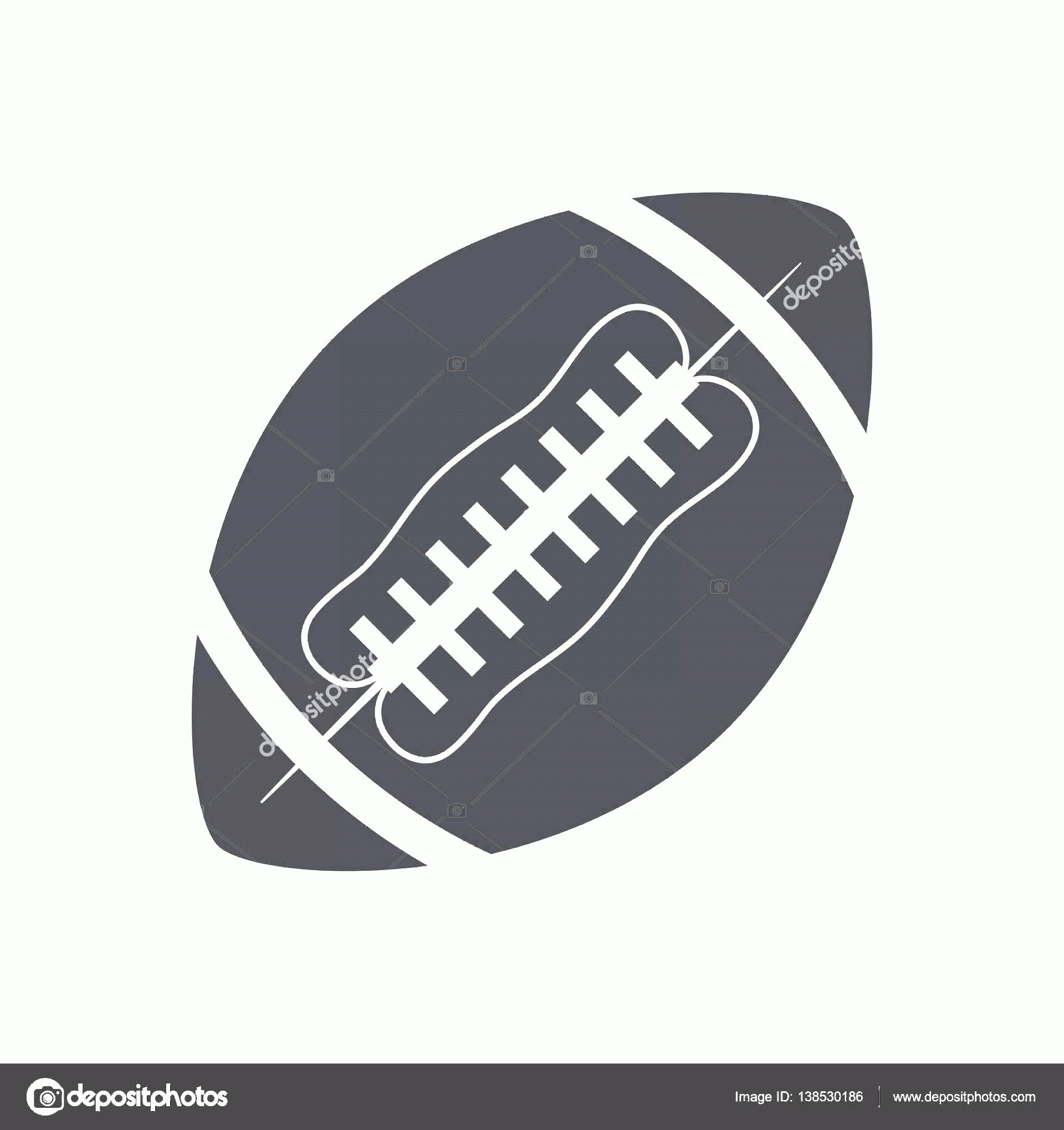 Football Laces Vector Silhouette: Stock Illustration Silhouette Ball American Football Sport