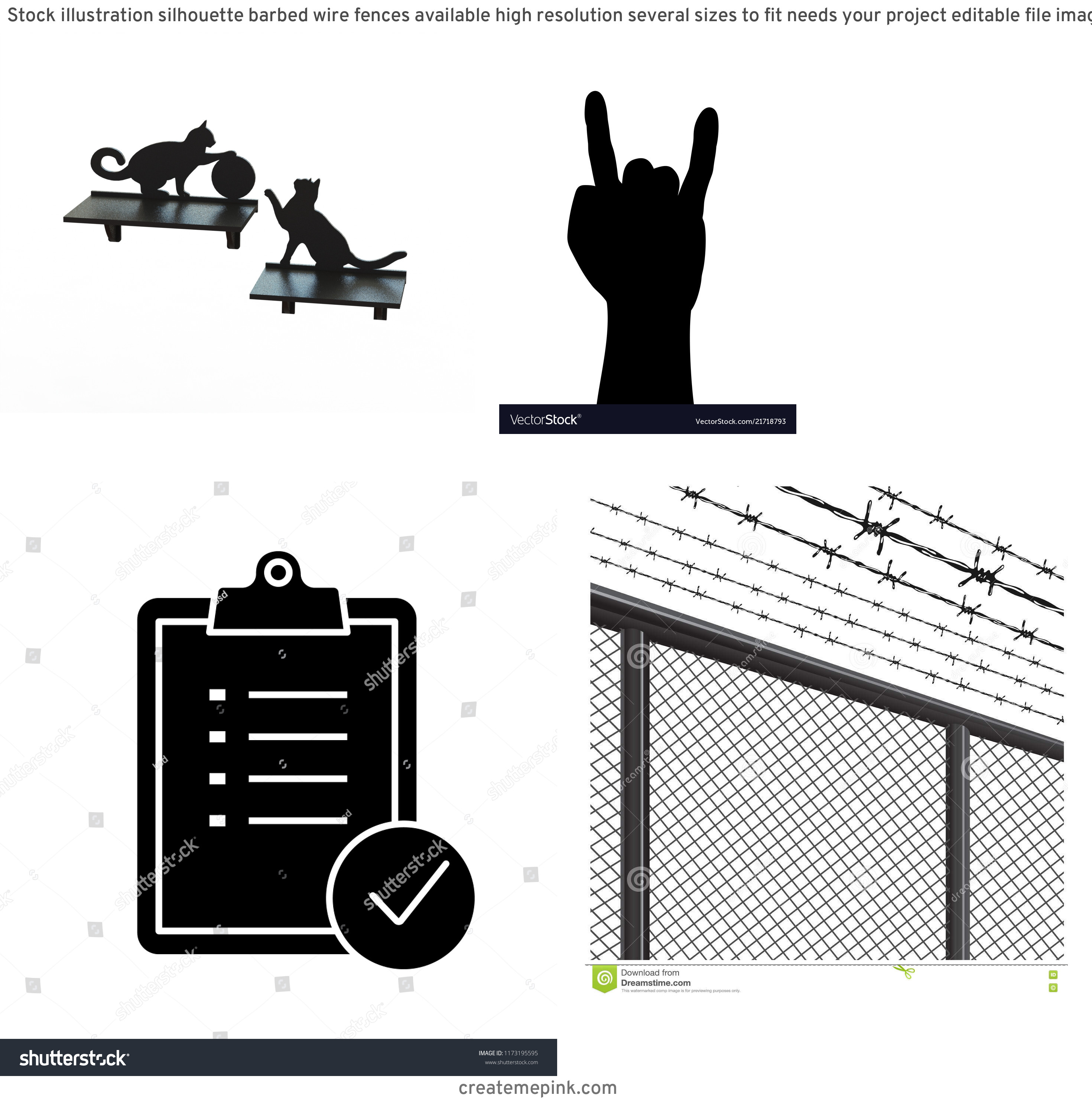 Vector Silhouette Metal Project: Stock Illustration Silhouette Barbed Wire Fences Available High Resolution Several Sizes To Fit Needs Your Project Editable File Image