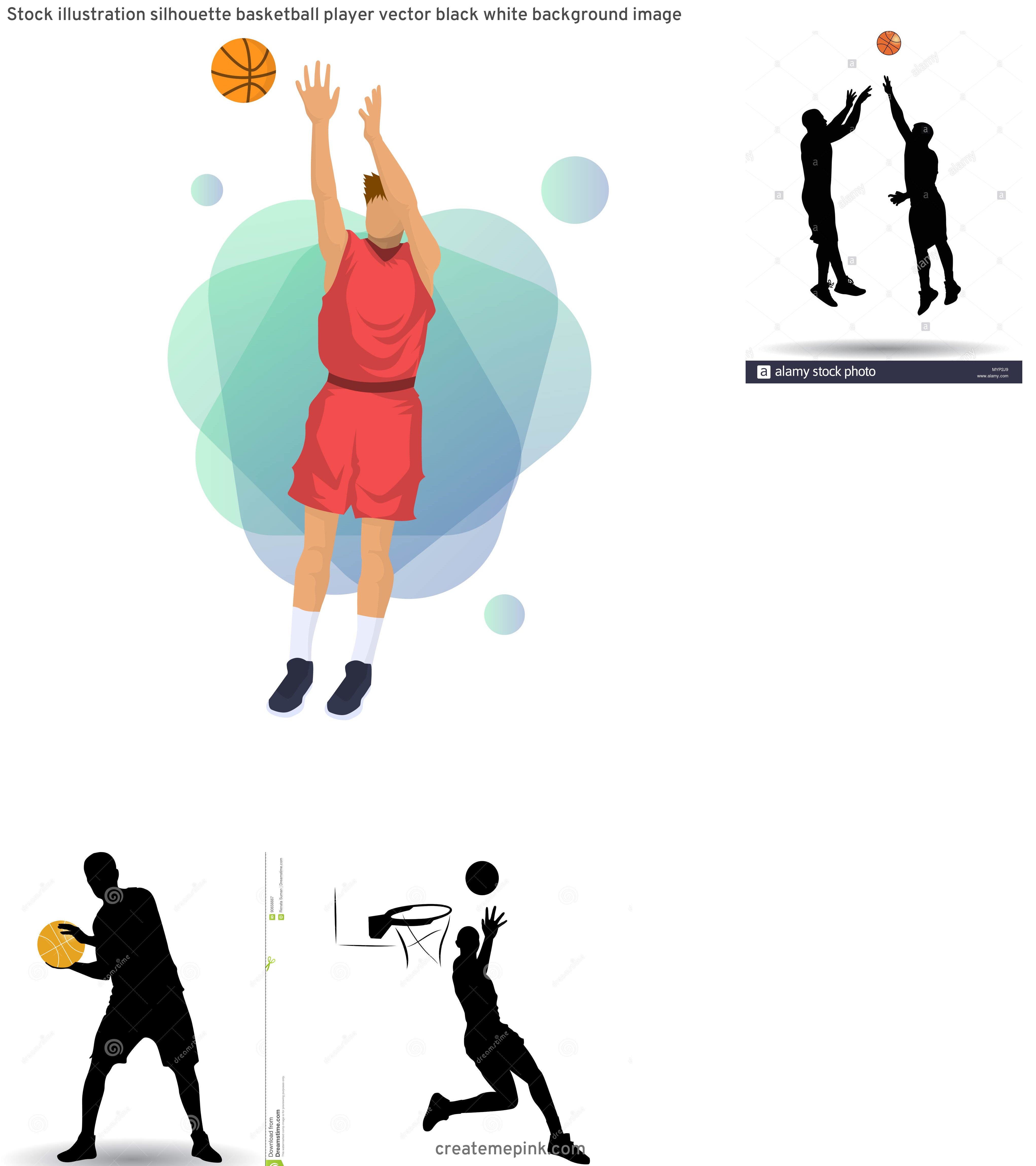 Basketball Player Silhouette Vector Illustration: Stock Illustration Silhouette Basketball Player Vector Black White Background Image