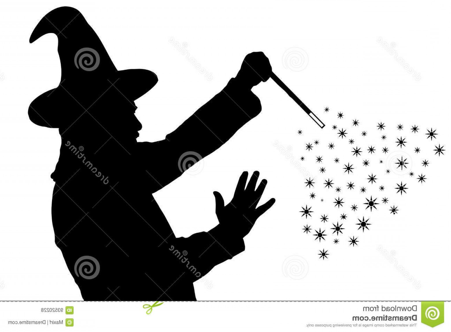 Wizard Silhouette Vector: Stock Illustration Silhouette Bearded Wizard Cloak Pointed Hat Creating Magic Image