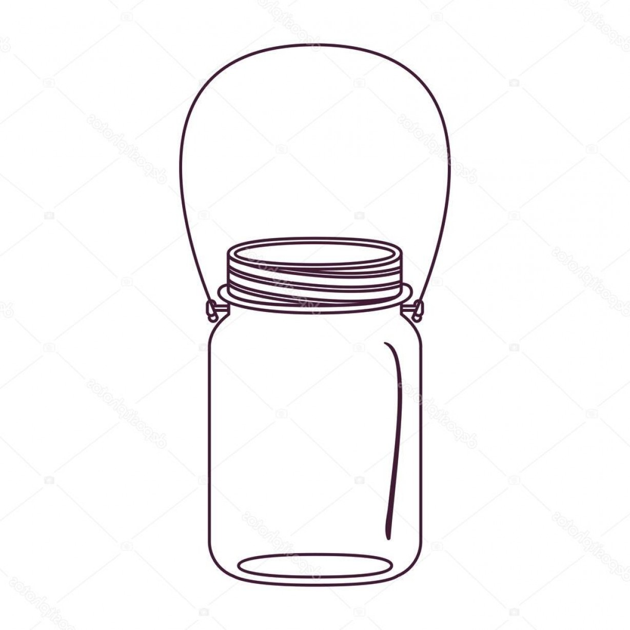 Mason Jar Outline Vector: Stock Illustration Silhouette Glass Jar Of Jam