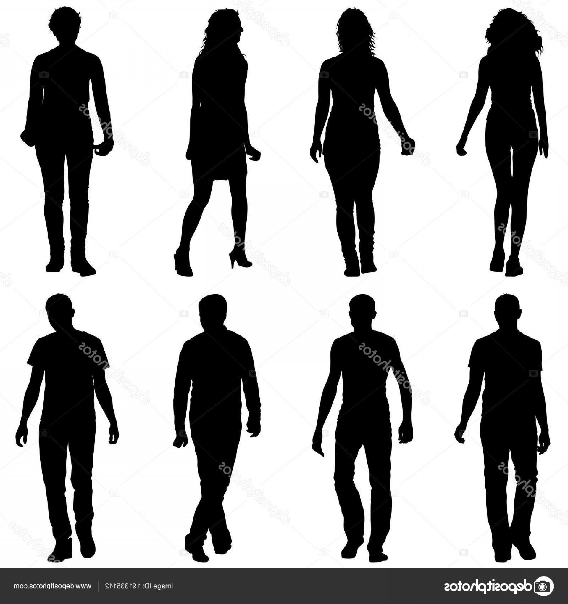 People Standing Vector: Stock Illustration Silhouette Group Of People Standing