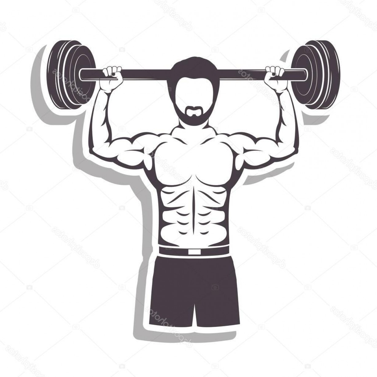 Vector Barbell Press: Stock Illustration Silhouette In Relief A Muscle